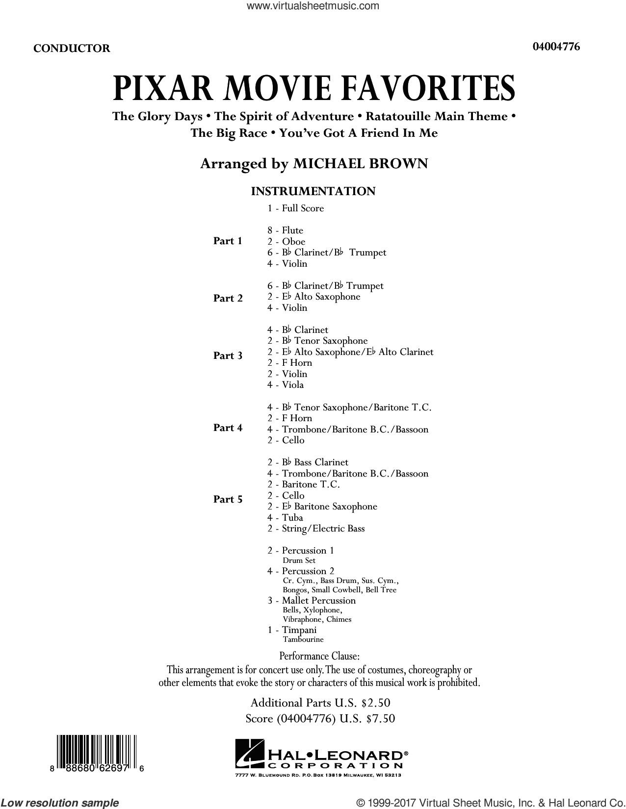 Pixar Movie Favorites (COMPLETE) sheet music for concert band by Michael Brown, intermediate. Score Image Preview.