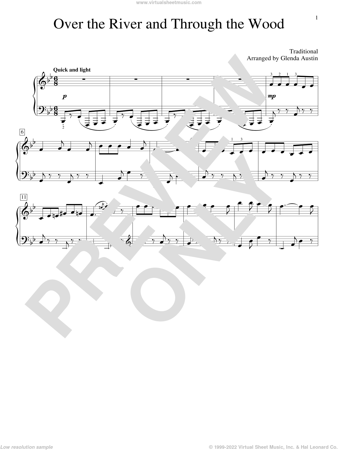 Over The River And Through The Woods sheet music for piano solo (elementary) by Glenda Austin, beginner piano (elementary)