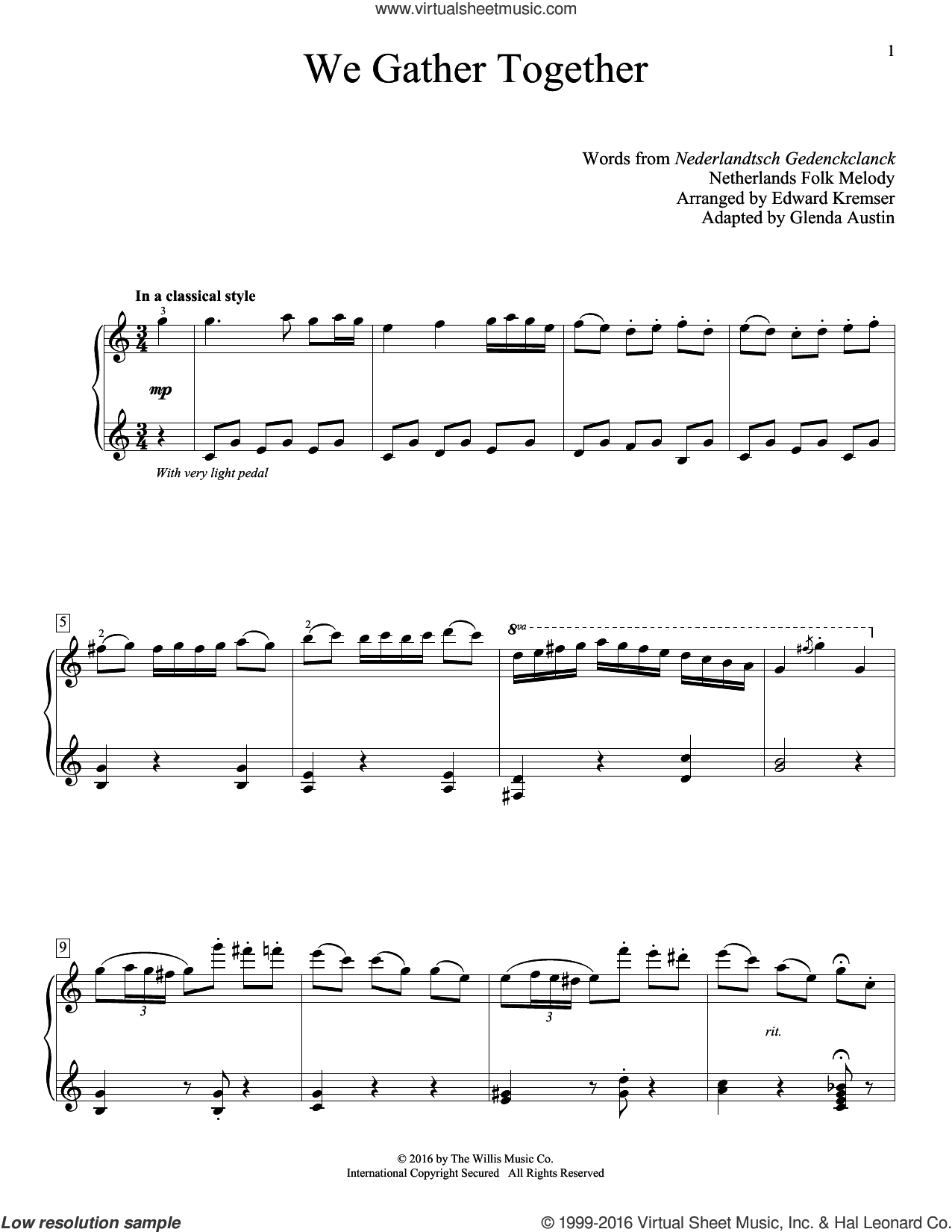 We Gather Together sheet music for piano solo (elementary) by Theodore Baker, Glenda Austin and Miscellaneous. Score Image Preview.