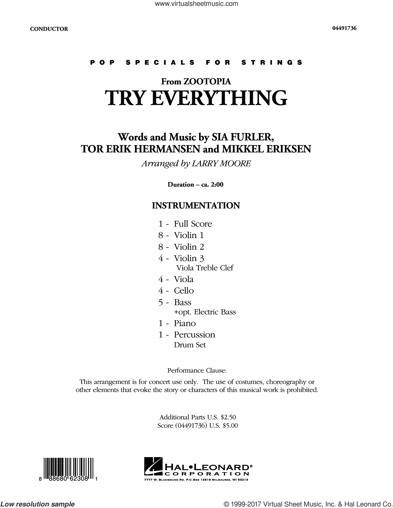 Try Everything (from Zootopia) (COMPLETE) sheet music for orchestra by Larry Moore, Mikkel Eriksen, Shakira, Sia Furler and Tor Erik Hermansen, intermediate skill level