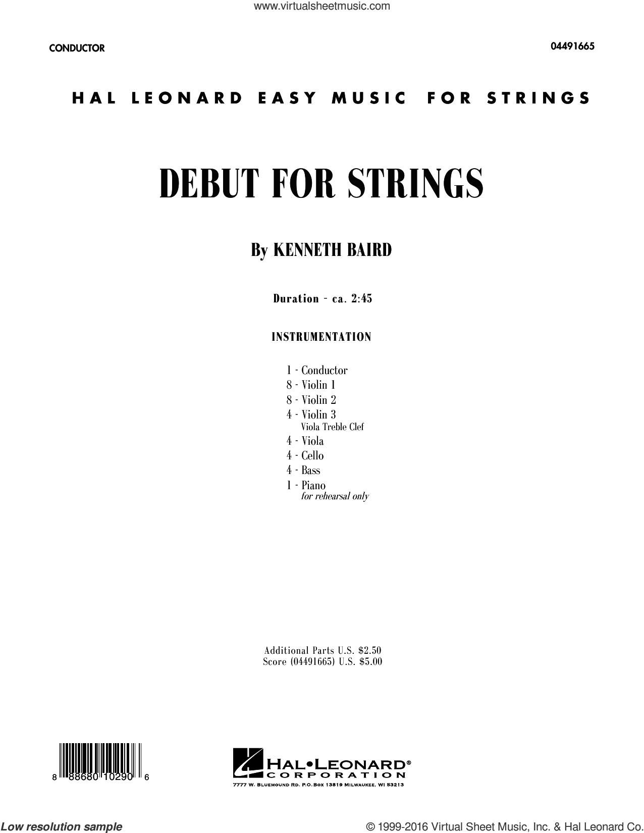 Debut for Strings sheet music for orchestra (full score) by Kenneth Baird. Score Image Preview.