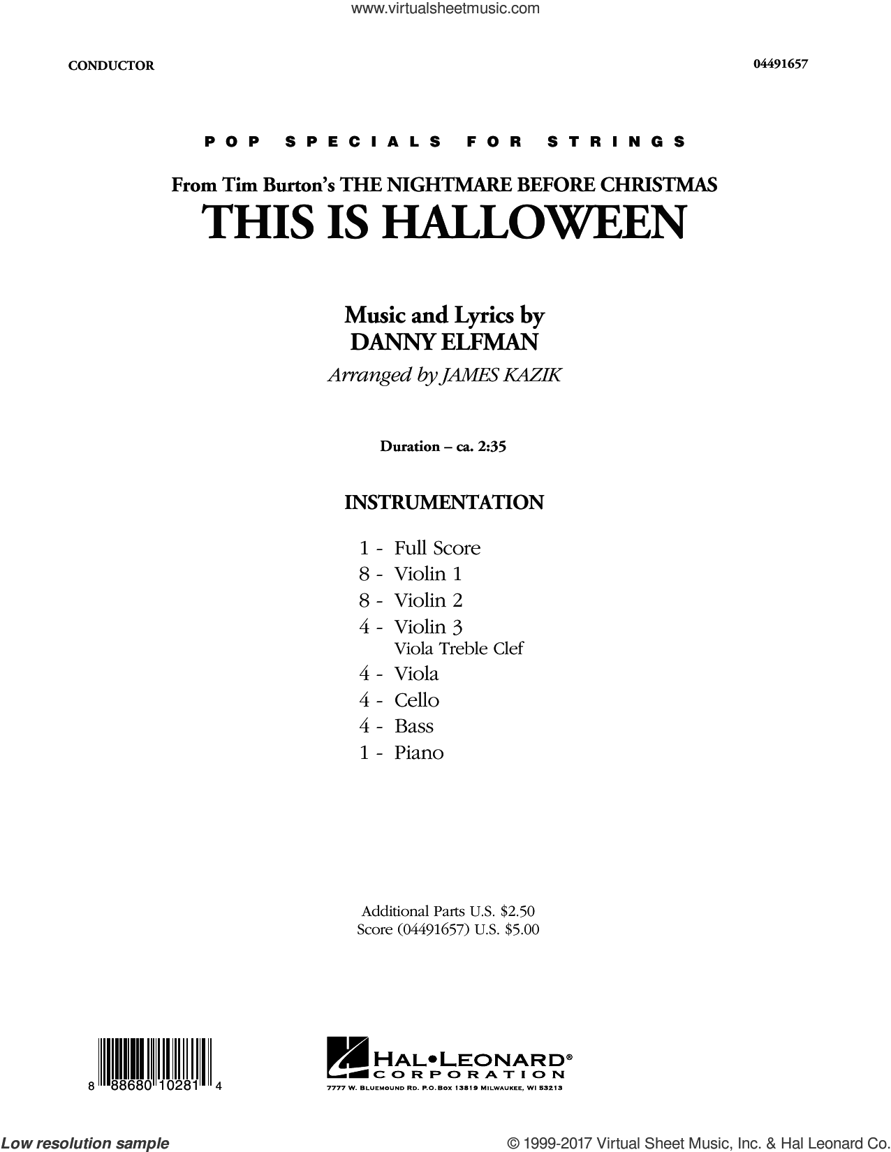 Elfman - This Is Halloween sheet music (complete collection) for ...