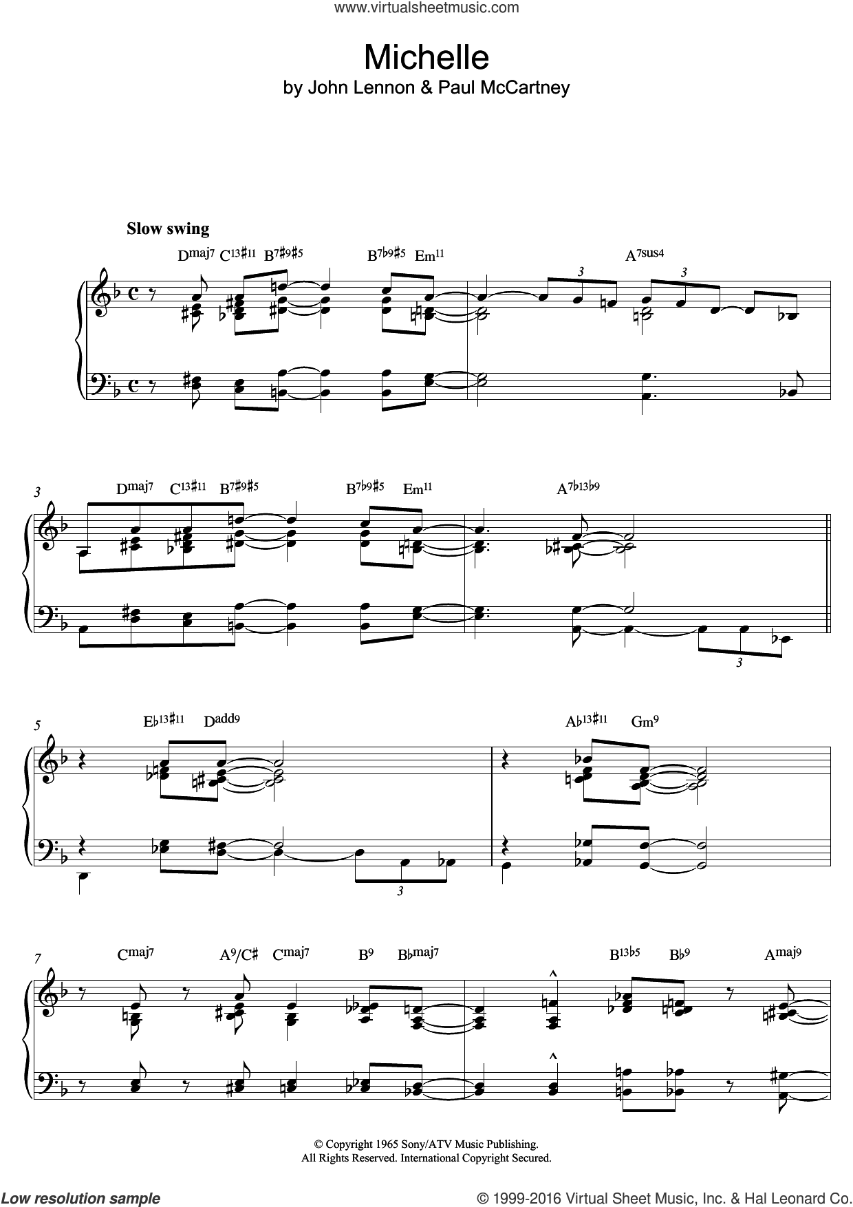 Michelle (Jazz version) sheet music for piano solo by Paul McCartney