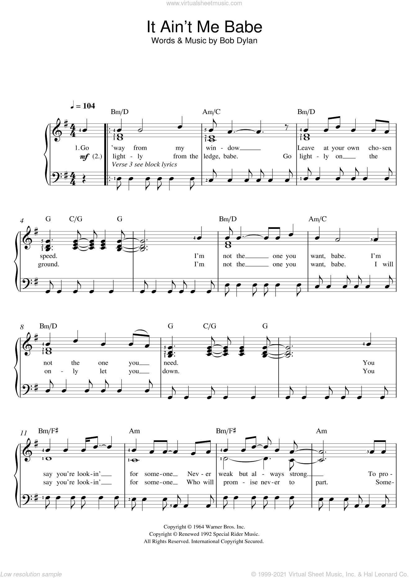 It Ain't Me Babe sheet music for voice and piano by Bob Dylan, intermediate skill level
