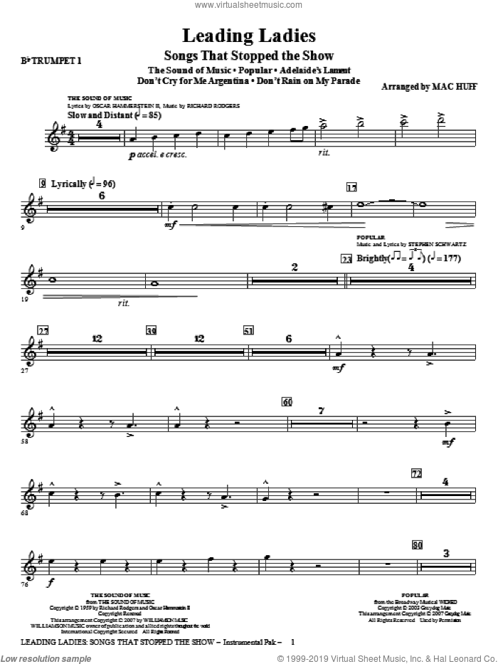 Leading Ladies: Songs That Stopped the Show sheet music for orchestra/band (trumpet 1) by Mac Huff, intermediate skill level