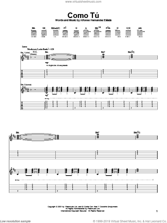 Como Tu sheet music for guitar (tablature) by Jaguares, intermediate. Score Image Preview.