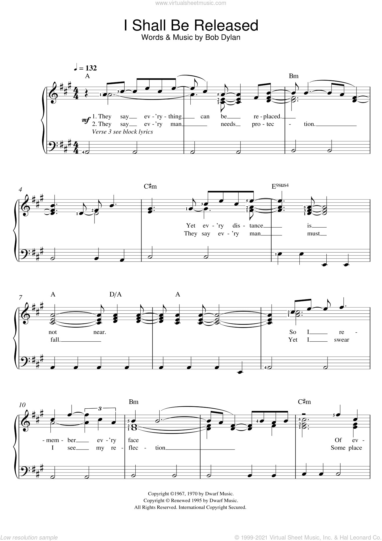I Shall Be Released sheet music for voice and piano by Bob Dylan, intermediate skill level