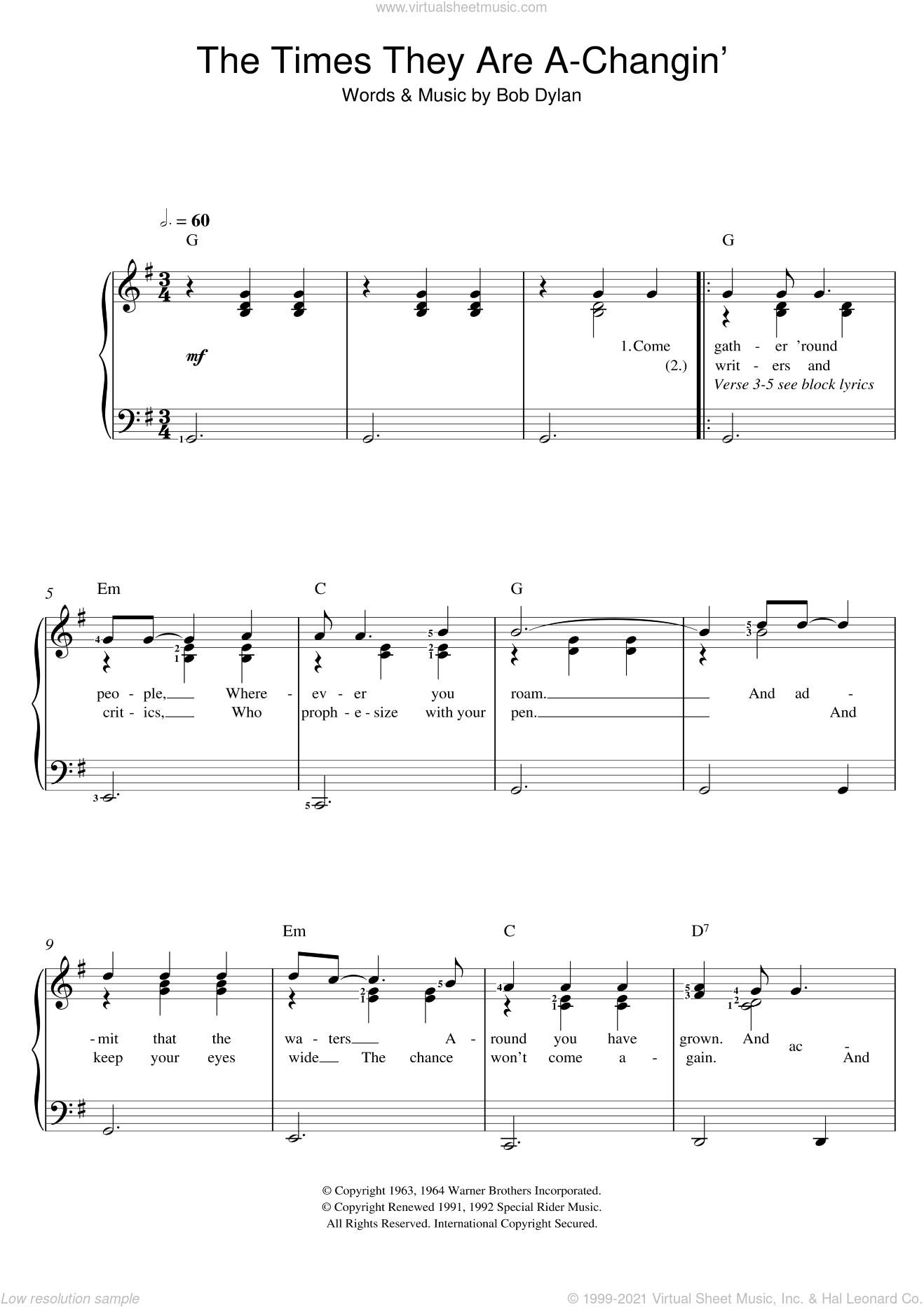 The Times They Are A-Changin' sheet music for voice and piano by Bob Dylan, intermediate skill level