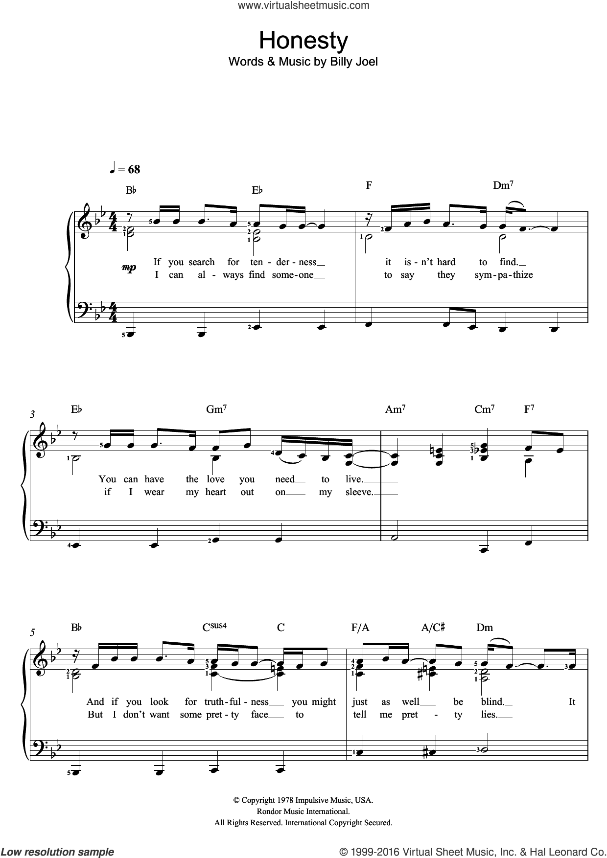 Honesty sheet music for voice and piano by Billy Joel. Score Image Preview.