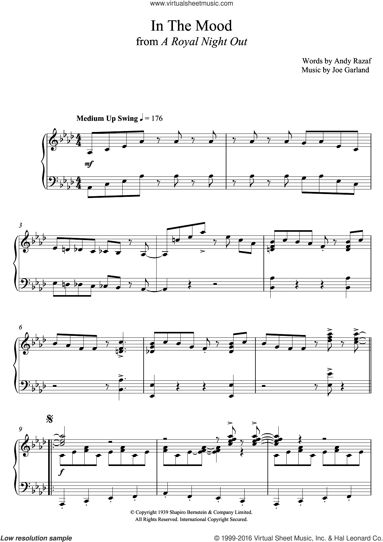 In The Mood sheet music for piano solo by Paul Englishby, Andy Razaf and Joe Garland, intermediate. Score Image Preview.