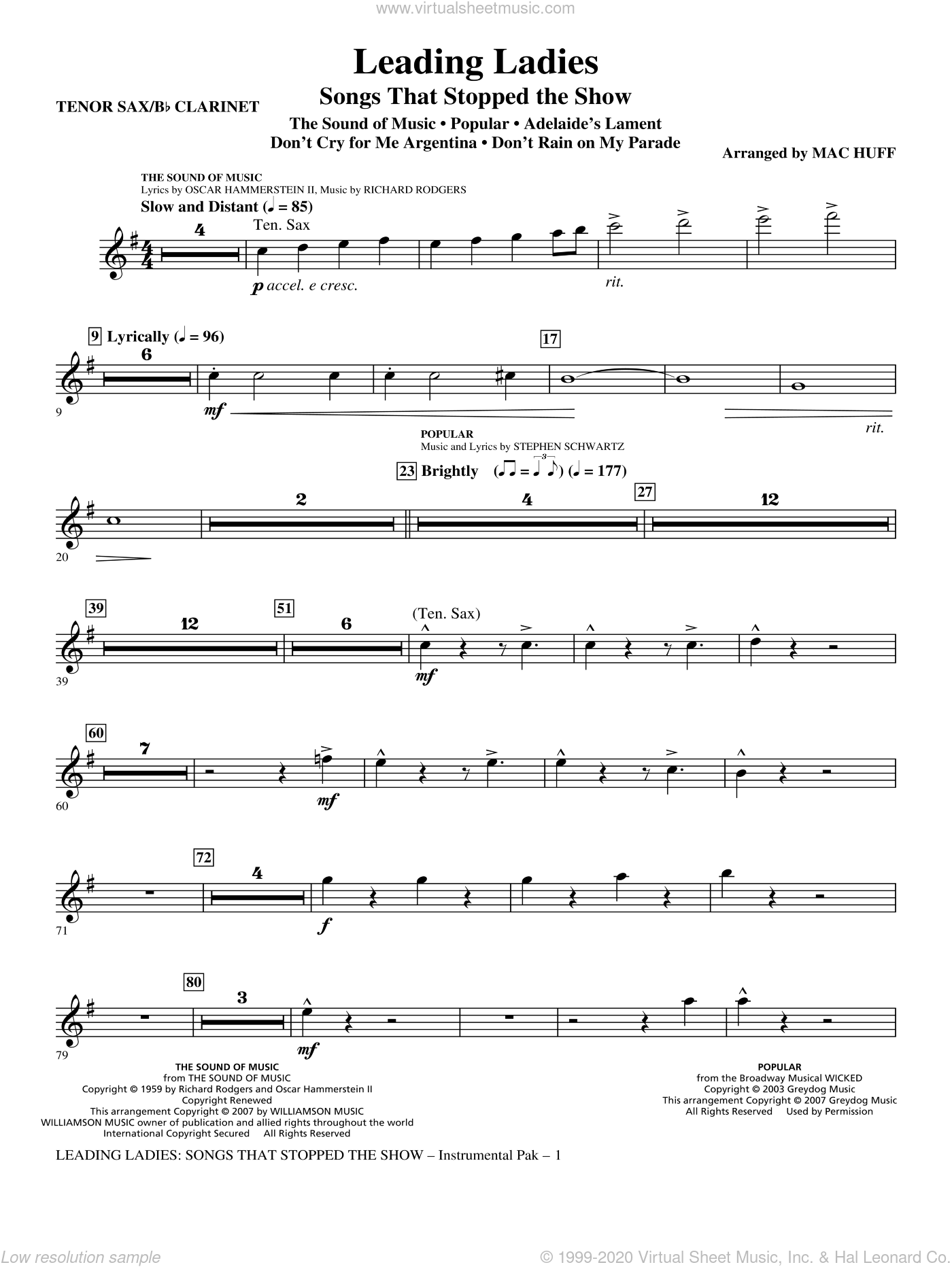Leading Ladies: Songs That Stopped the Show sheet music for orchestra/band (tenor sax/clarinet) by Mac Huff, intermediate skill level
