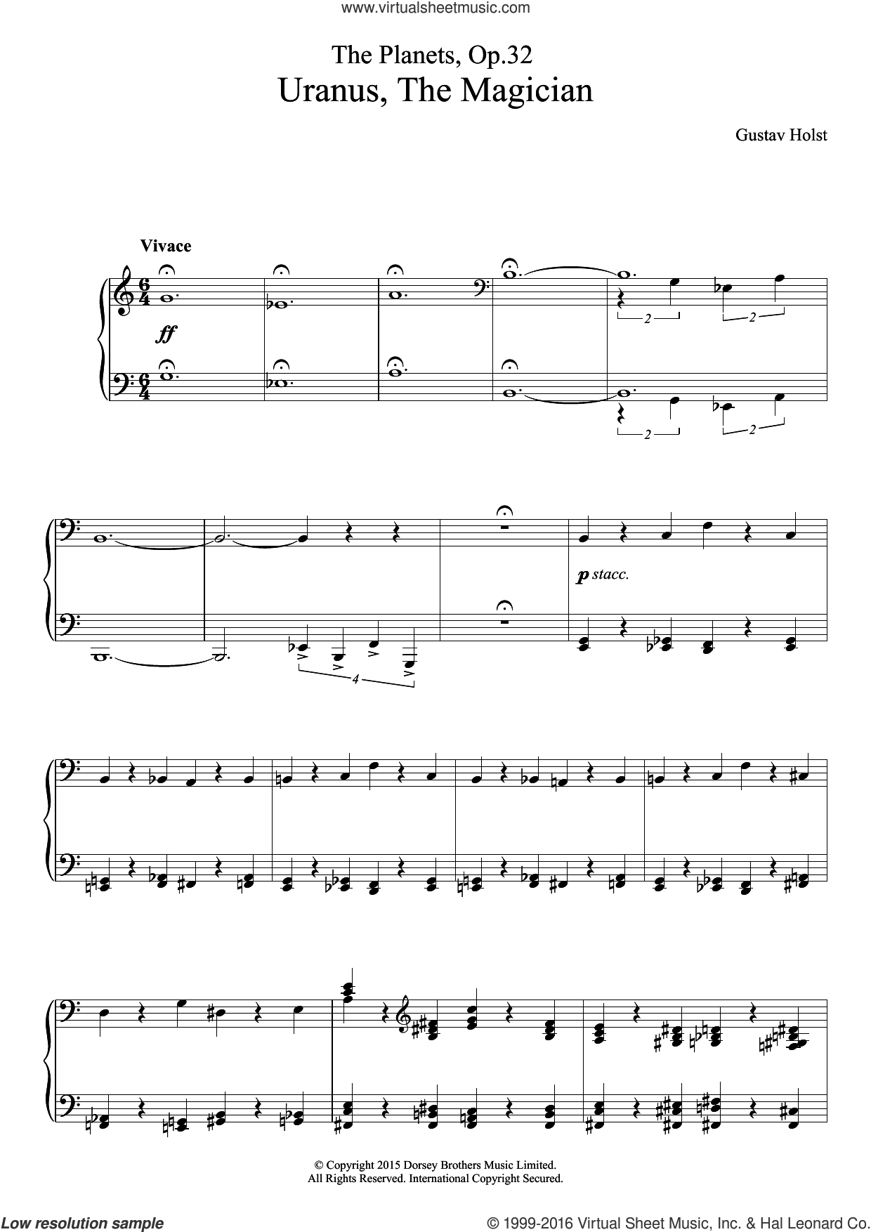 The Planets, Op. 32 - Uranus, The Magician sheet music for piano solo by Gustav Holst, classical score, intermediate skill level