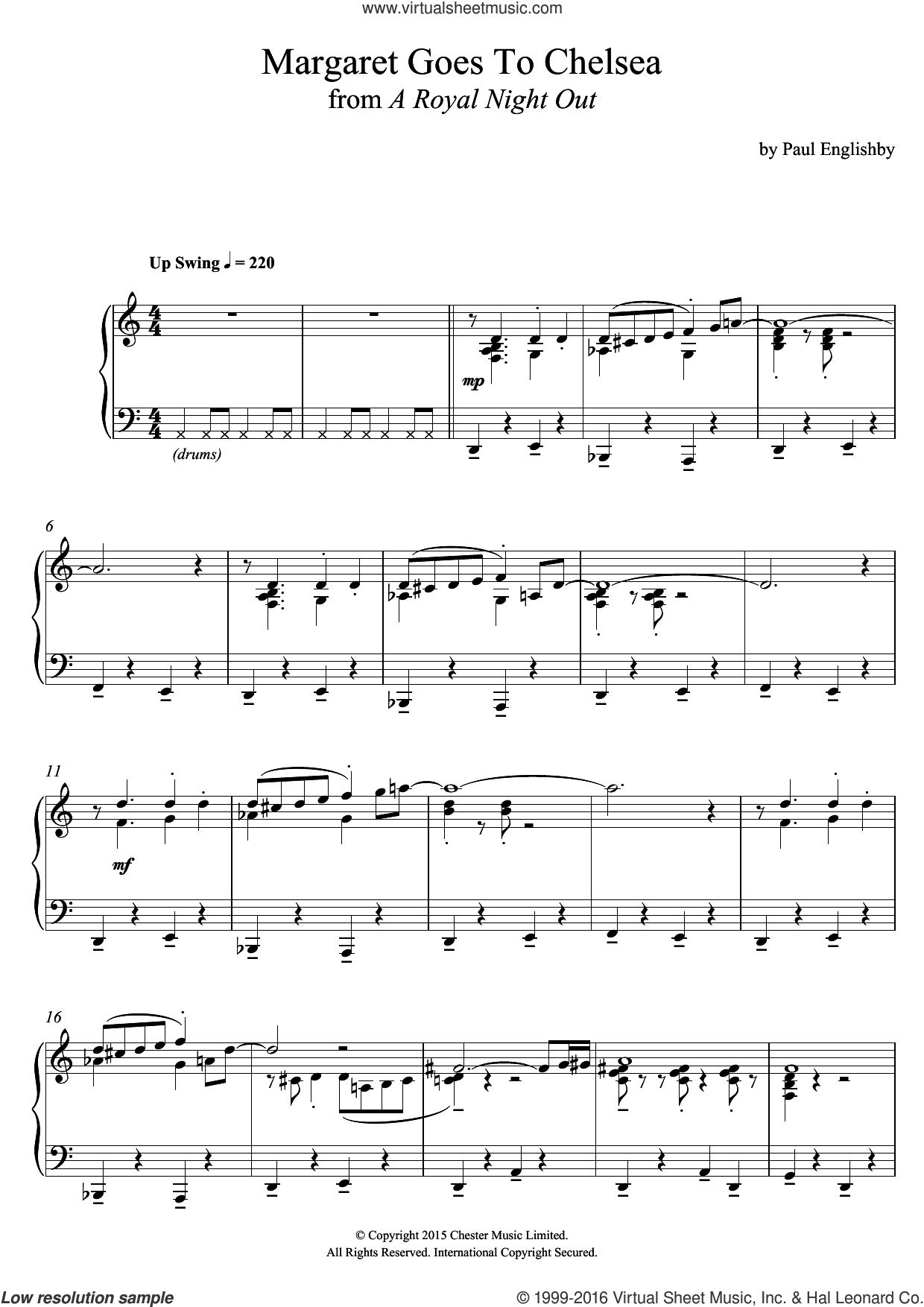 Margaret Goes To Chelsea (From 'A Royal Night Out') sheet music for piano solo by Paul Englishby, intermediate piano. Score Image Preview.