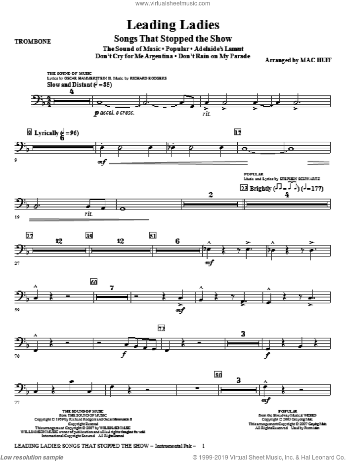 Leading Ladies: Songs That Stopped the Show sheet music for orchestra/band (trombone) by Mac Huff, intermediate skill level