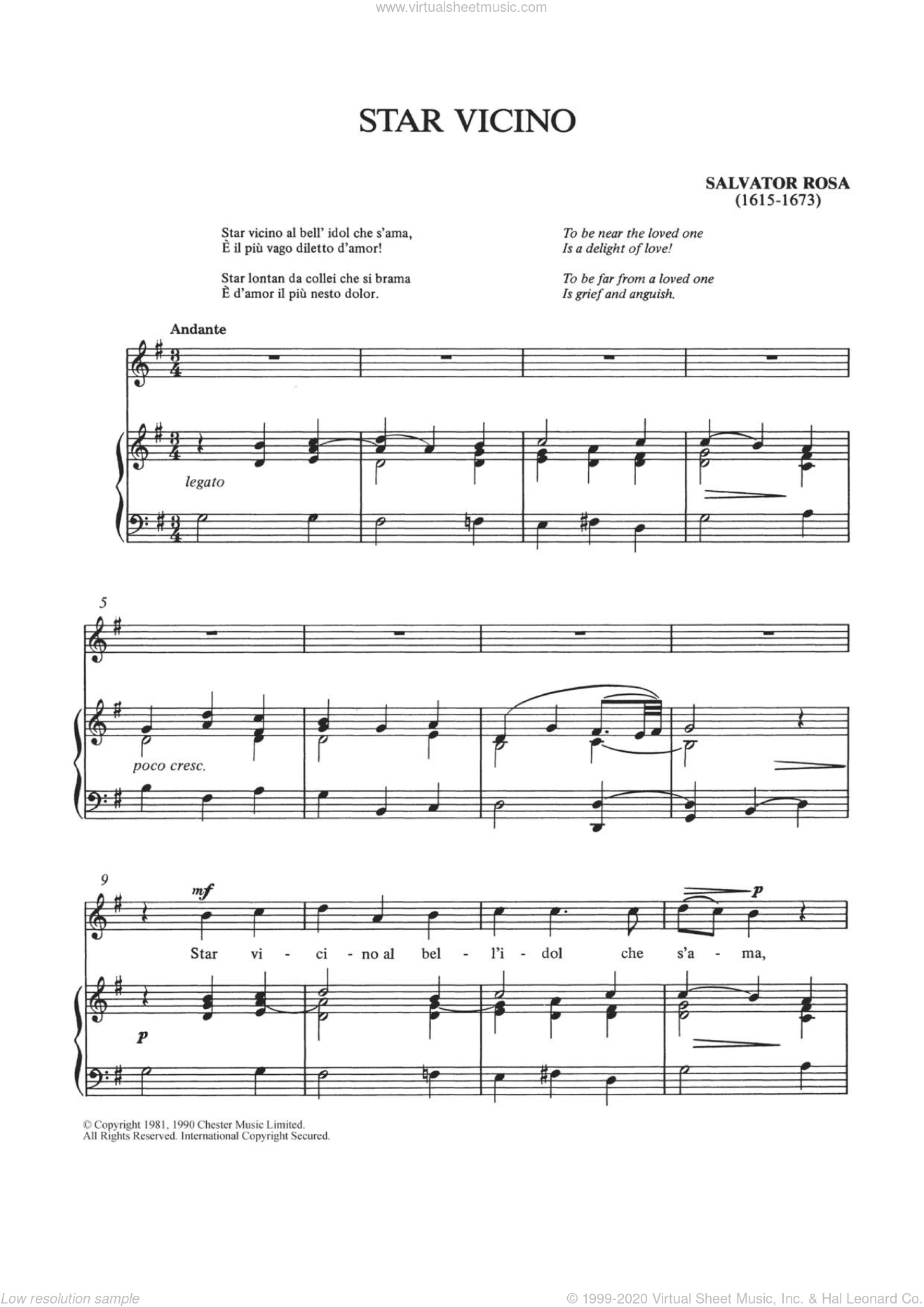 Star Vicino sheet music for voice and piano by Salvator Rosa. Score Image Preview.
