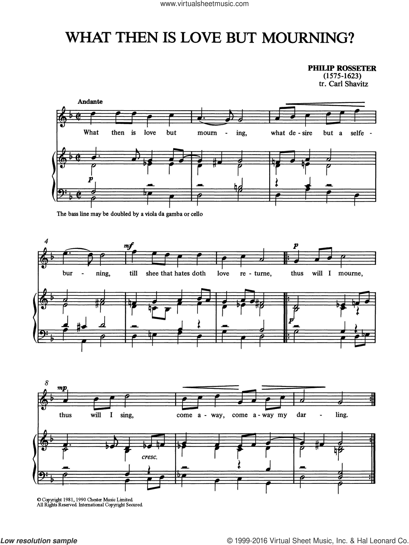 What Then Is Love But Mourning? sheet music for voice and piano by Philip Rosseter, classical score, intermediate. Score Image Preview.