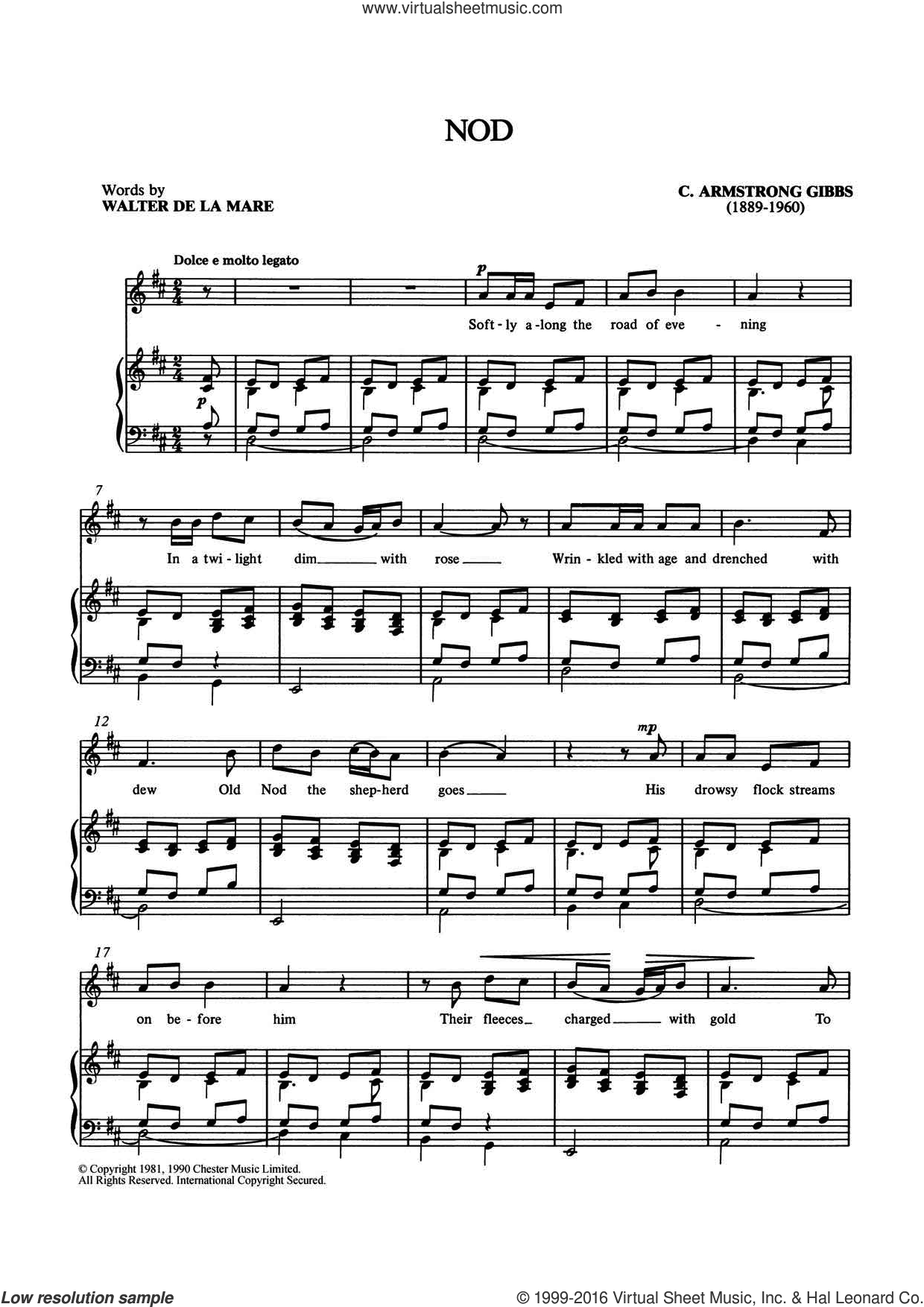 Nod sheet music for voice and piano by Cecil Armstrong Gibbs and Shirley Leah, classical score, intermediate
