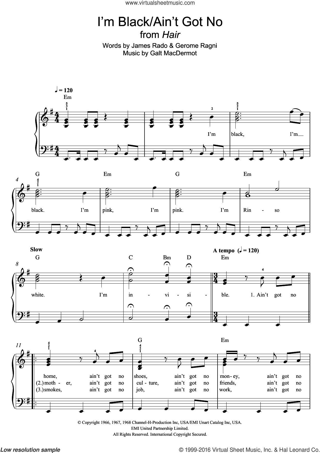 I'm Black/Ain't Got No (from 'Hair') sheet music for piano solo by Galt MacDermot, Gerome Ragni and James Rado, easy skill level