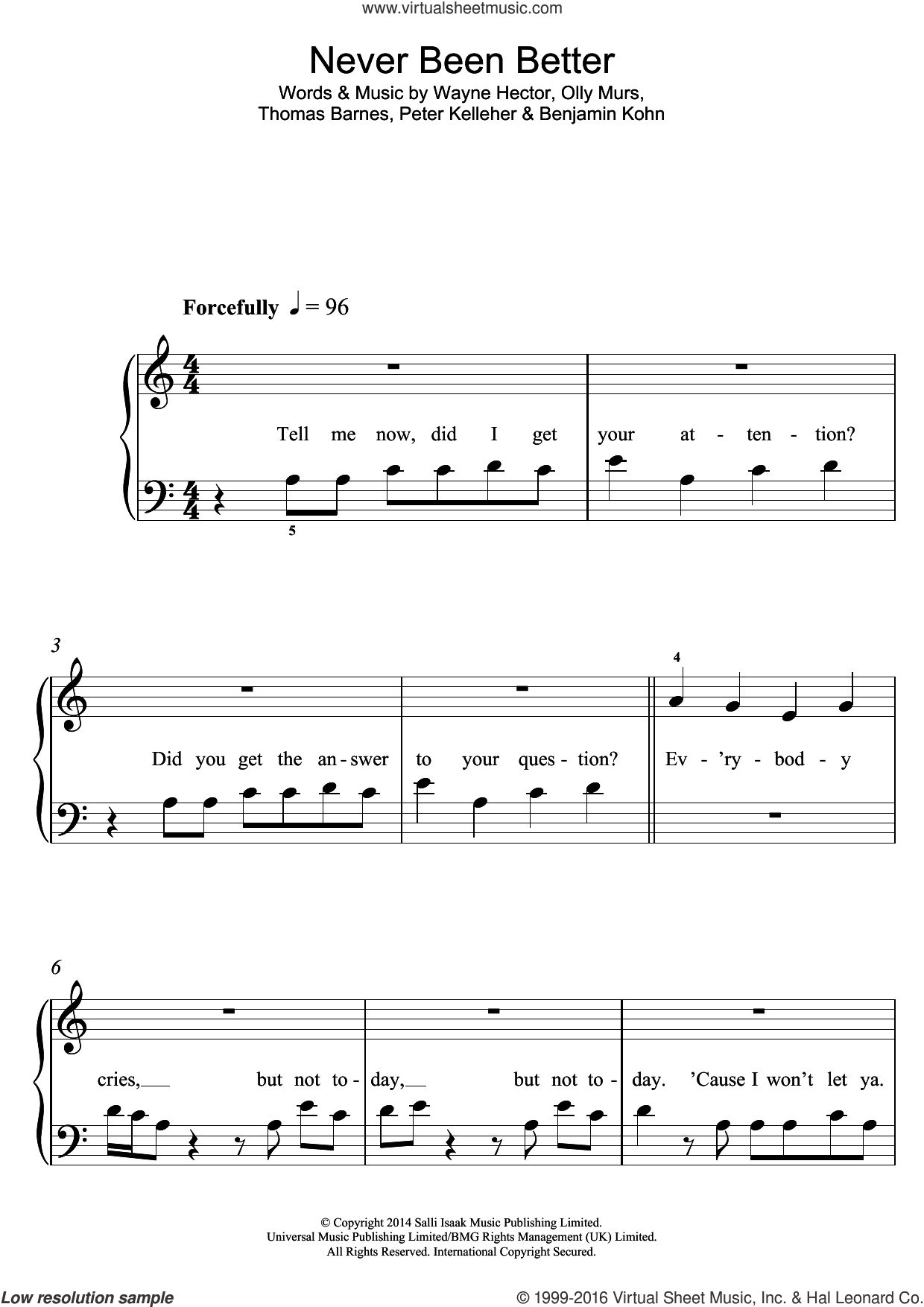 Never Been Better sheet music for voice, piano or guitar by Olly Murs, Benjamin Kohn, Peter Kelleher, Thomas Barnes and Wayne Hector, intermediate skill level