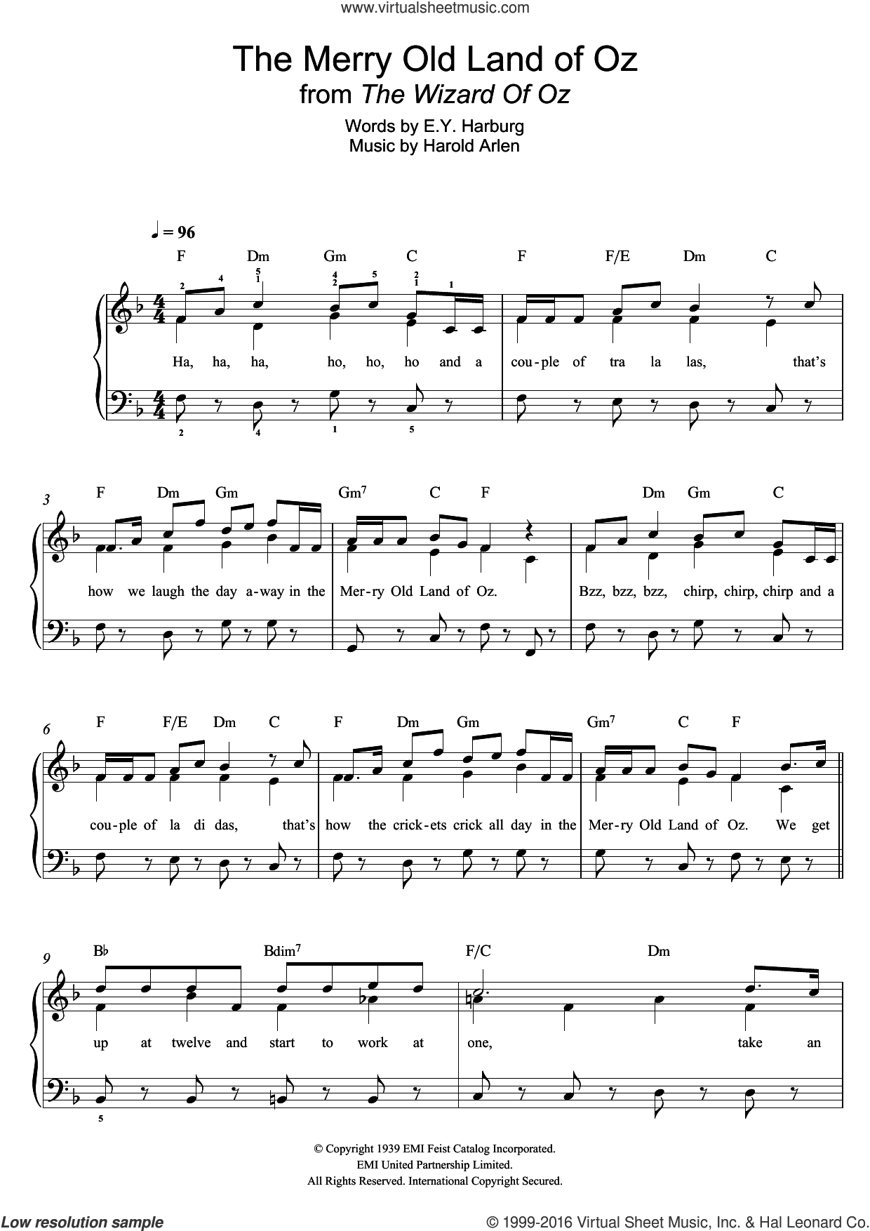 The Merry Old Land Of Oz (from 'The Wizard Of Oz') sheet music for piano solo by Harold Arlen and E.Y. Harburg, easy skill level