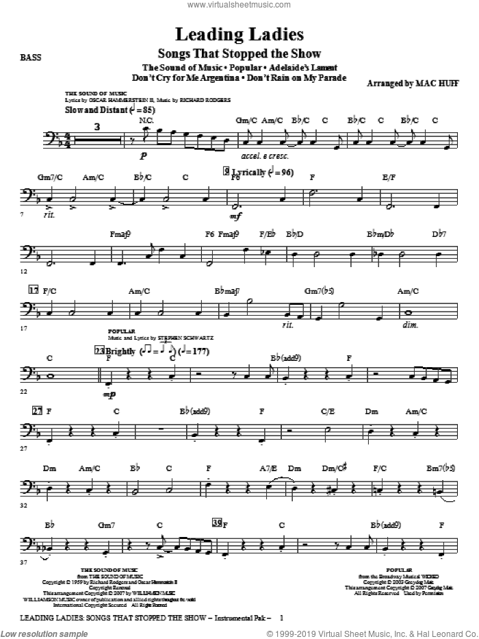 Leading Ladies: Songs That Stopped the Show sheet music for orchestra/band (bass) by Mac Huff, intermediate skill level