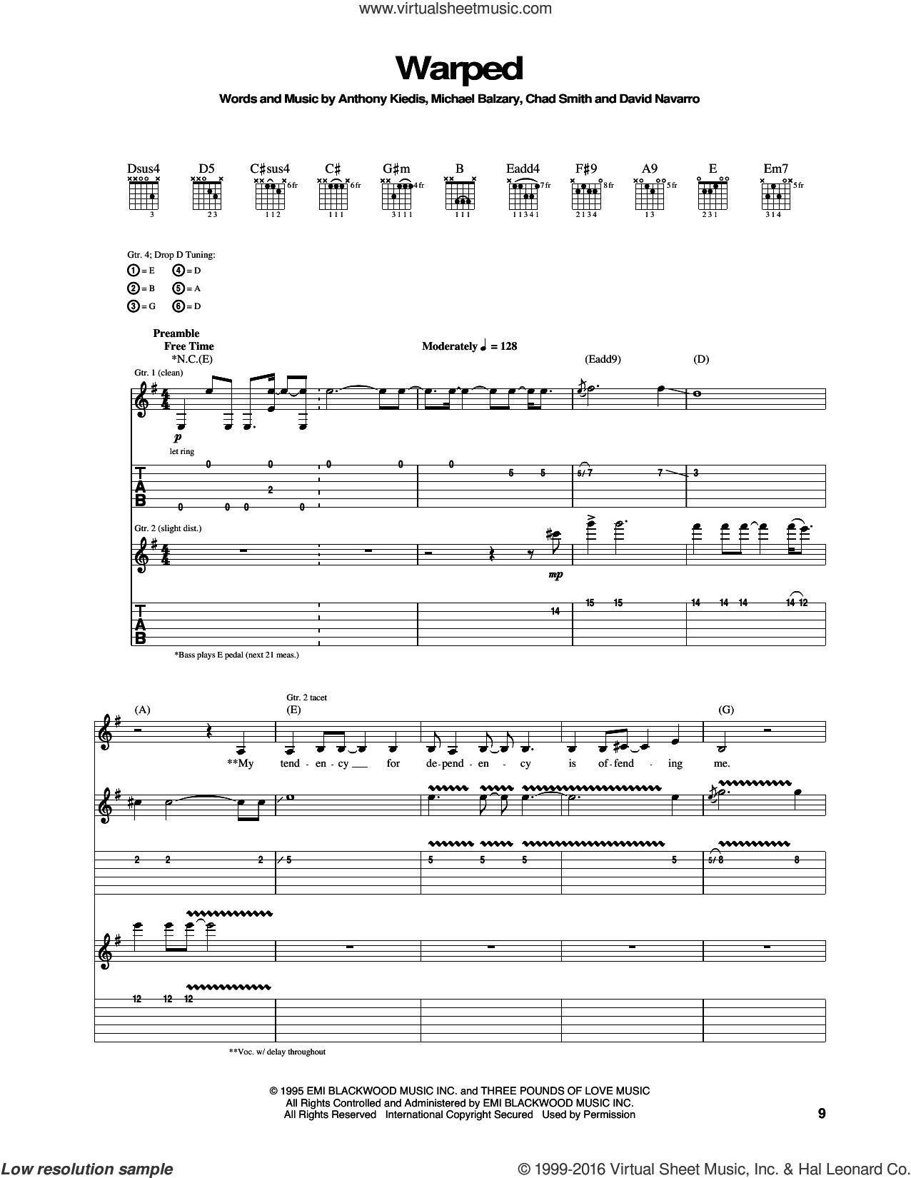 Warped sheet music for guitar (tablature) by Red Hot Chili Peppers, intermediate. Score Image Preview.