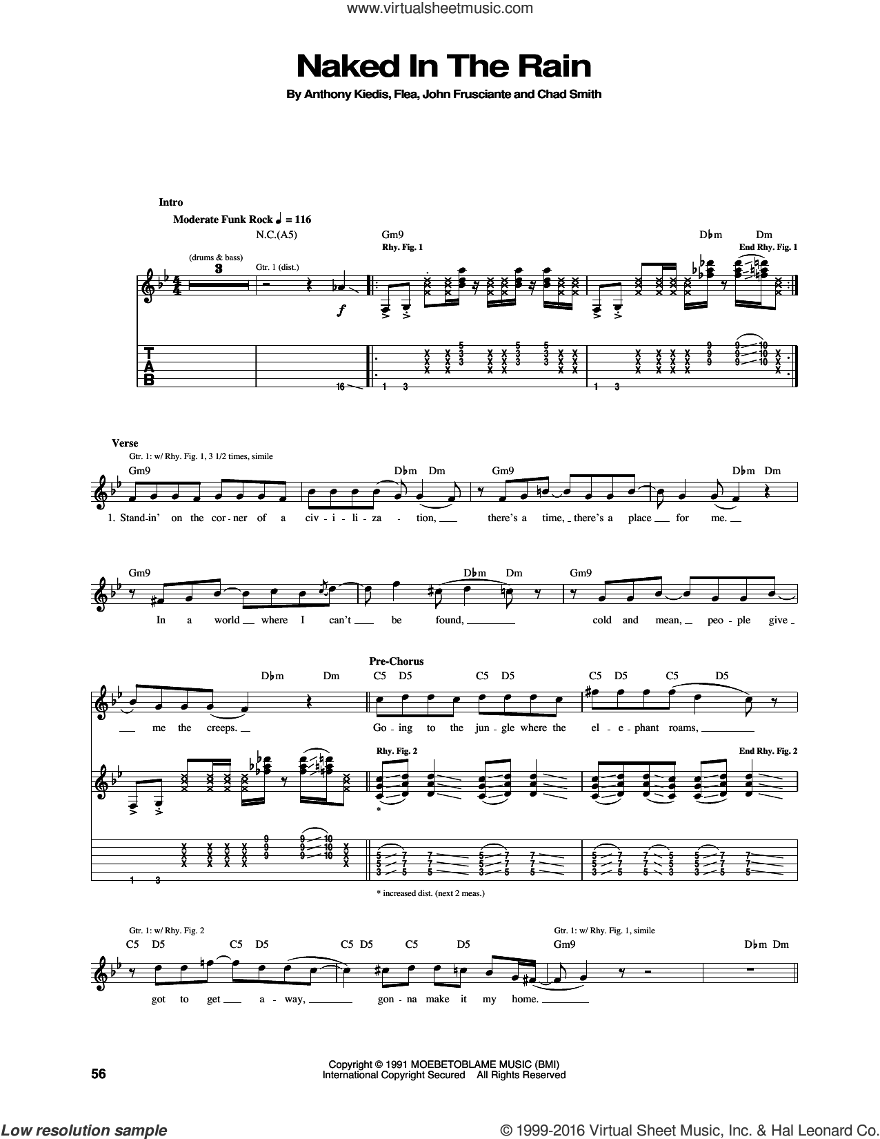 Naked In The Rain sheet music for guitar (tablature) by Red Hot Chili Peppers, Anthony Kiedis, Chad Smith, Flea and John Frusciante, intermediate skill level