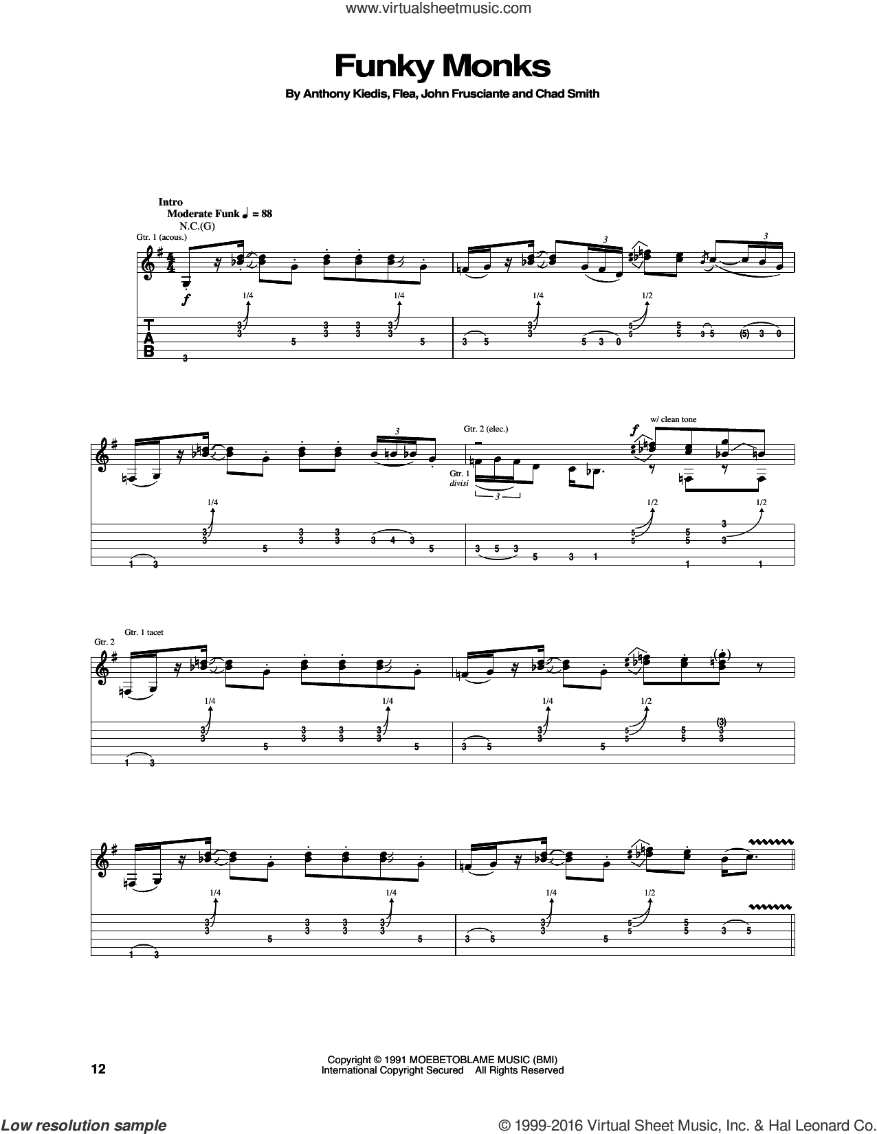 Funky Monks sheet music for guitar (tablature) by Red Hot Chili Peppers. Score Image Preview.