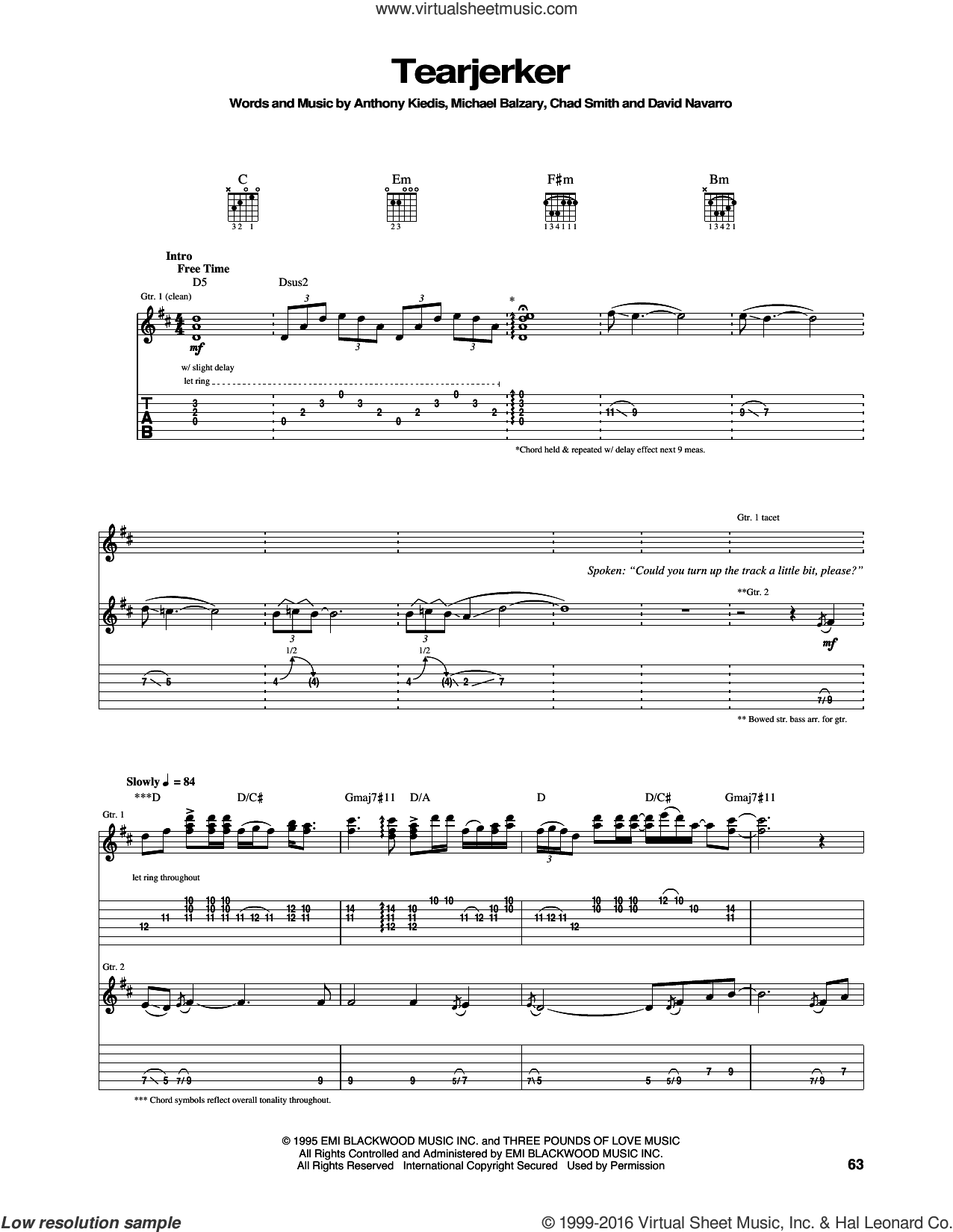 Tearjerker sheet music for guitar (tablature) by Red Hot Chili Peppers, intermediate. Score Image Preview.
