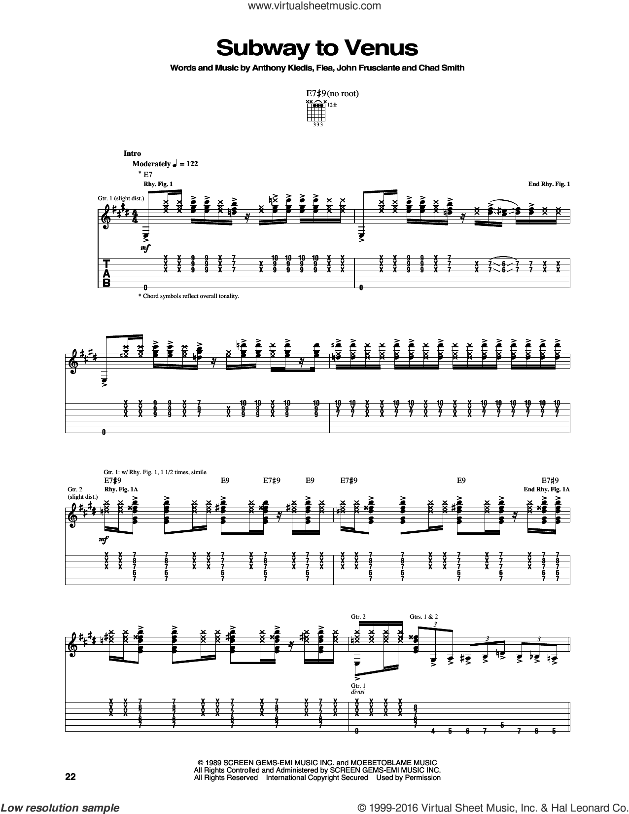 Subway To Venus sheet music for guitar (tablature) by John Frusciante, Red Hot Chili Peppers and Flea. Score Image Preview.