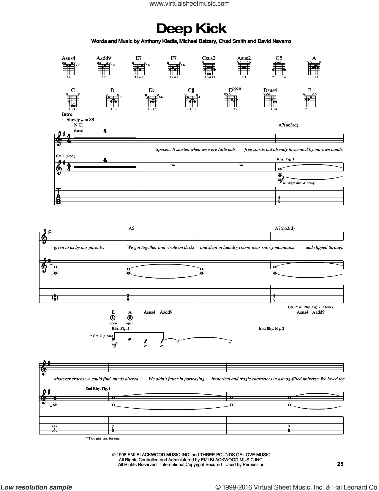 Deep Kick sheet music for guitar (tablature) by Red Hot Chili Peppers, Anthony Kiedis, Chad Smith, David Navarro and Flea, intermediate skill level