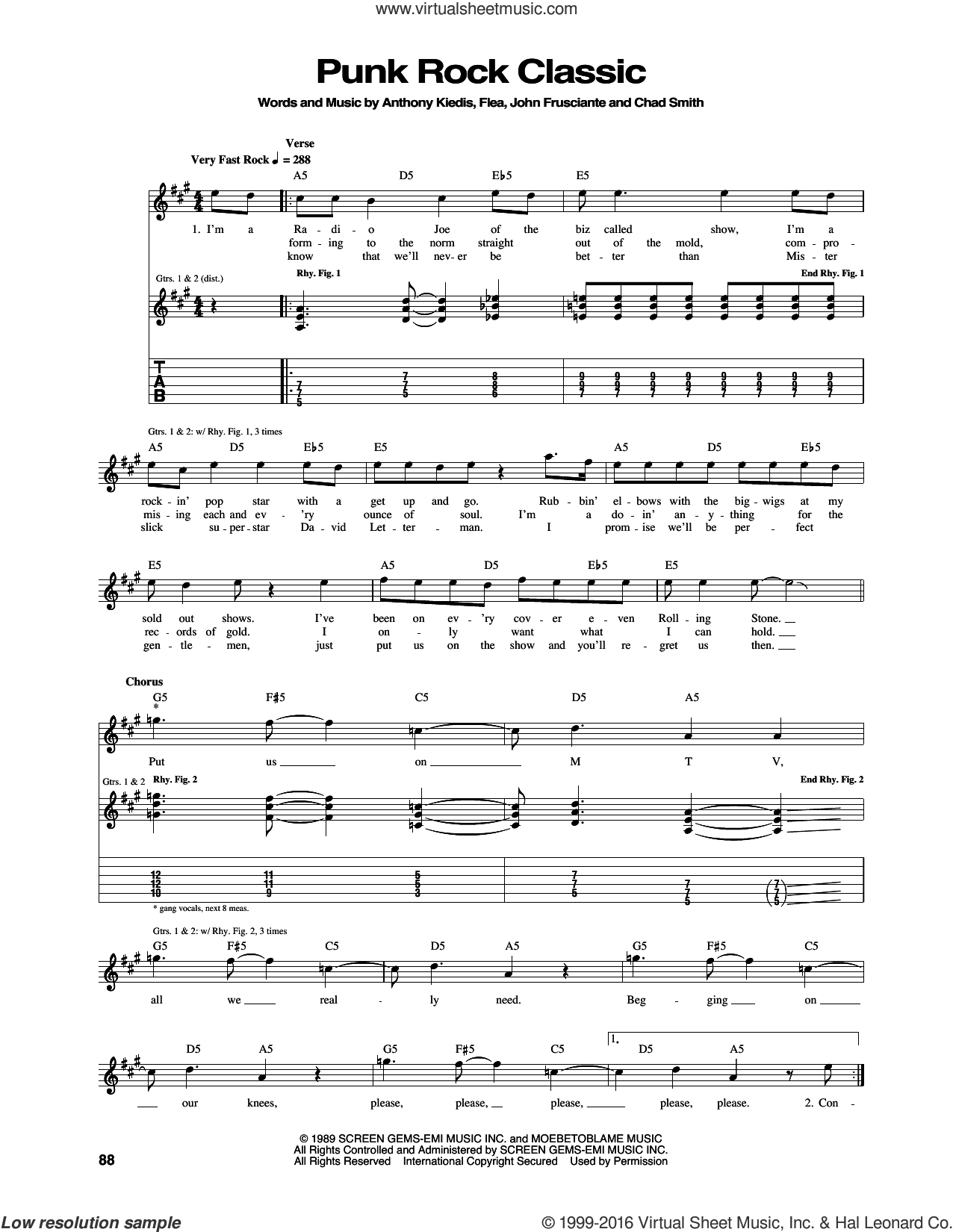 Punk Rock Classic sheet music for guitar (tablature) by Red Hot Chili Peppers, intermediate guitar (tablature). Score Image Preview.
