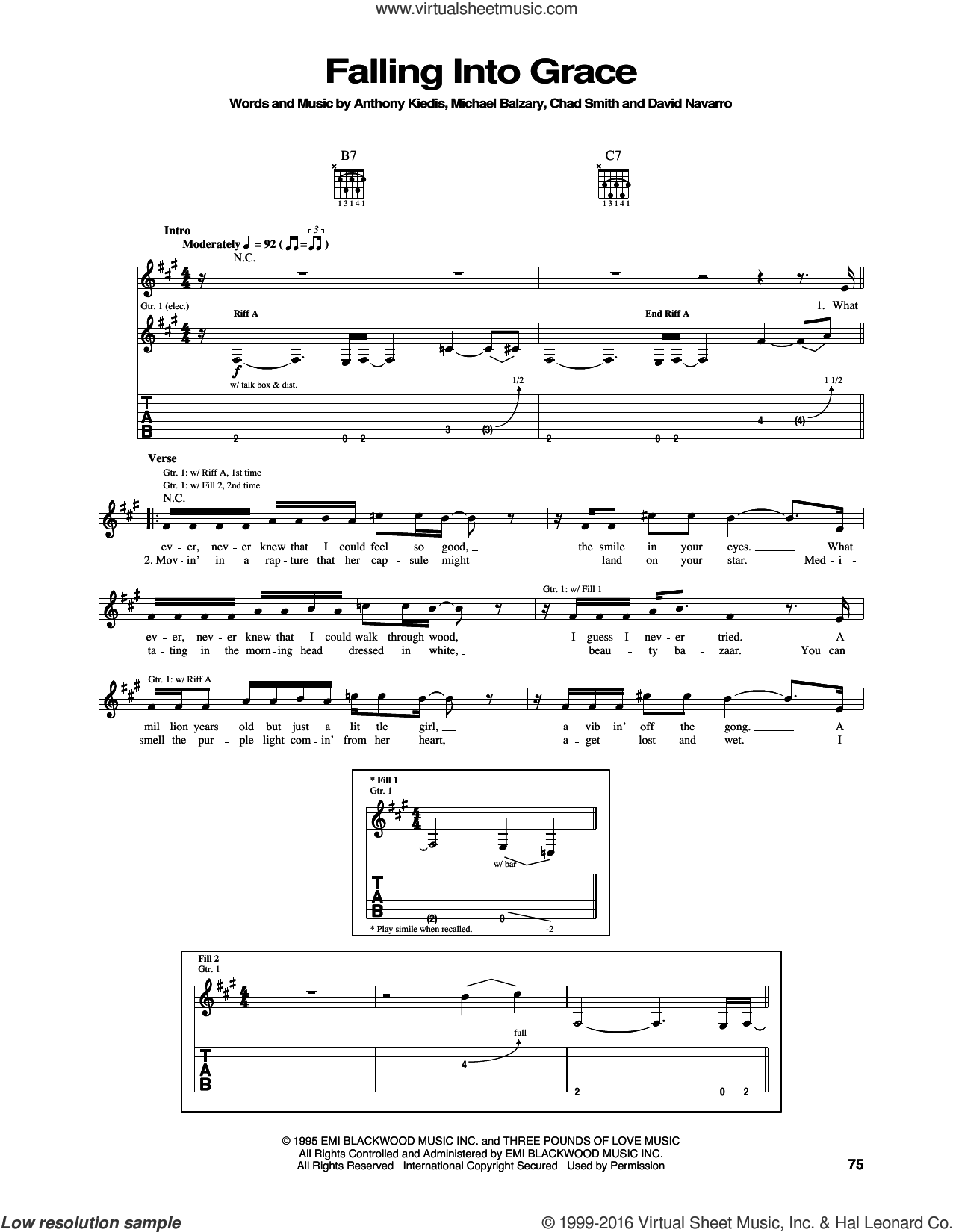 Falling Into Grace sheet music for guitar (tablature) by Flea, Red Hot Chili Peppers and David Navarro. Score Image Preview.