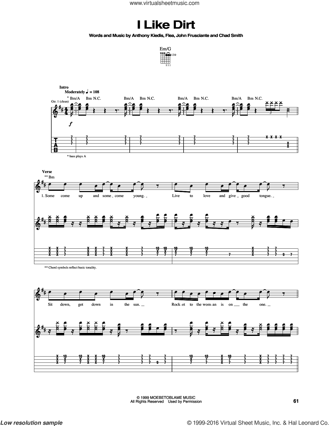 I Like Dirt sheet music for guitar (tablature) by Red Hot Chili Peppers, intermediate. Score Image Preview.