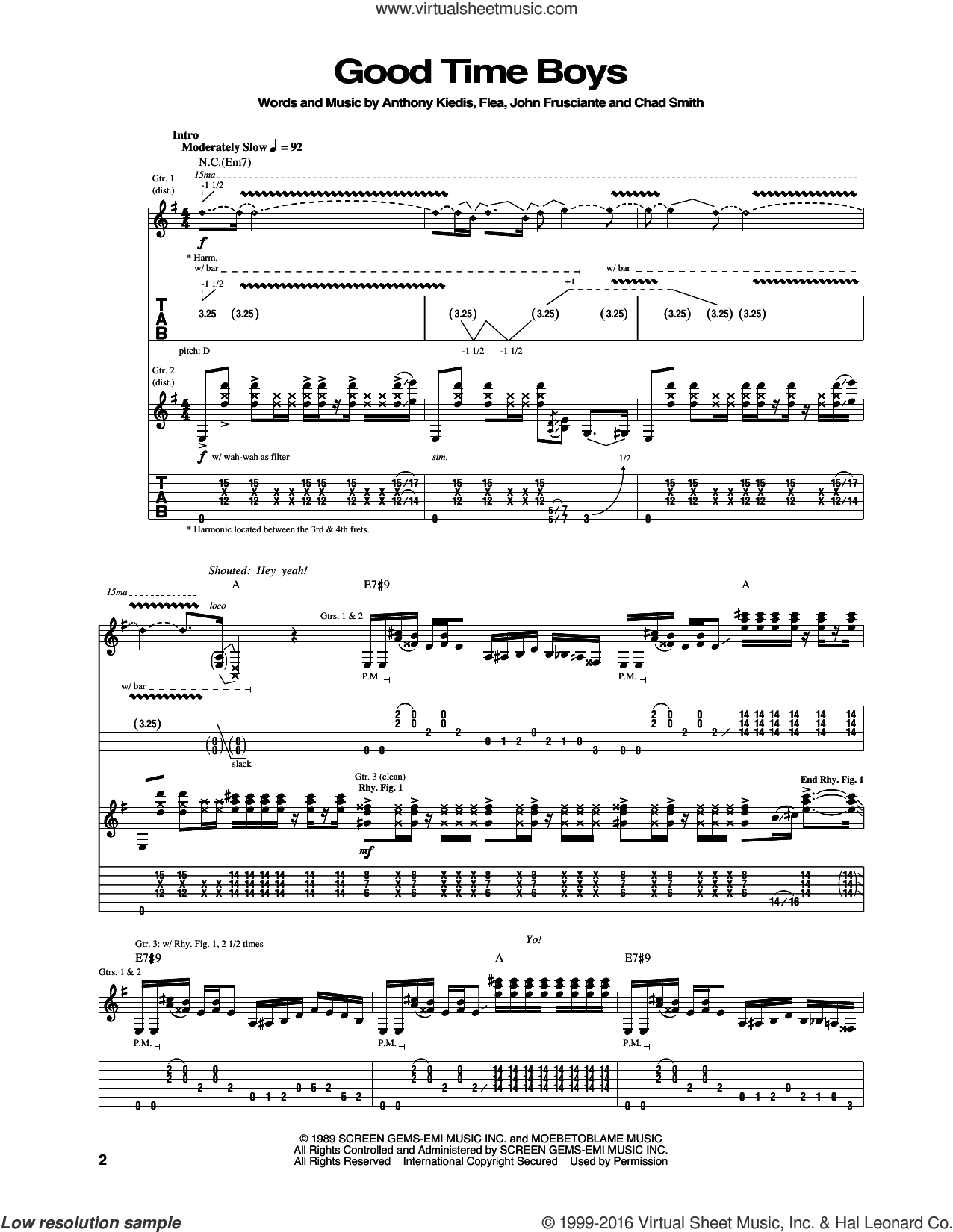 Good Time Boys sheet music for guitar (tablature) by John Frusciante, Red Hot Chili Peppers and Flea. Score Image Preview.