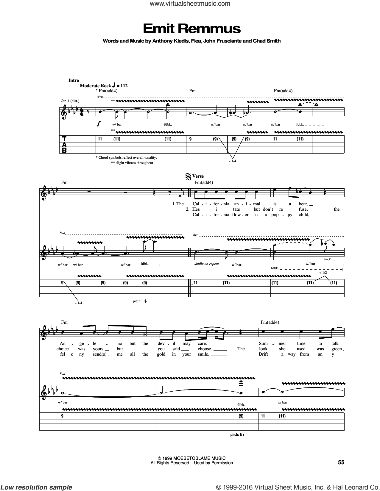 Emit Remmus sheet music for guitar (tablature) by Red Hot Chili Peppers, Anthony Kiedis, Chad Smith, Flea and John Frusciante, intermediate skill level