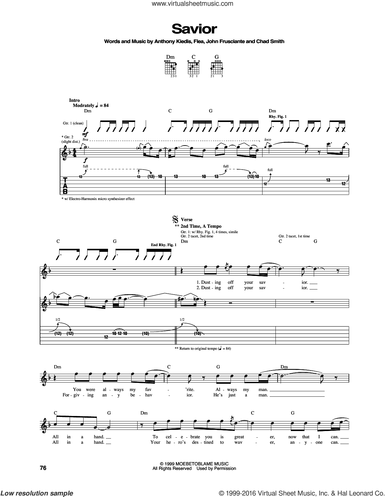Savior sheet music for guitar (tablature) by Red Hot Chili Peppers, Anthony Kiedis, Chad Smith, Flea and John Frusciante, intermediate. Score Image Preview.