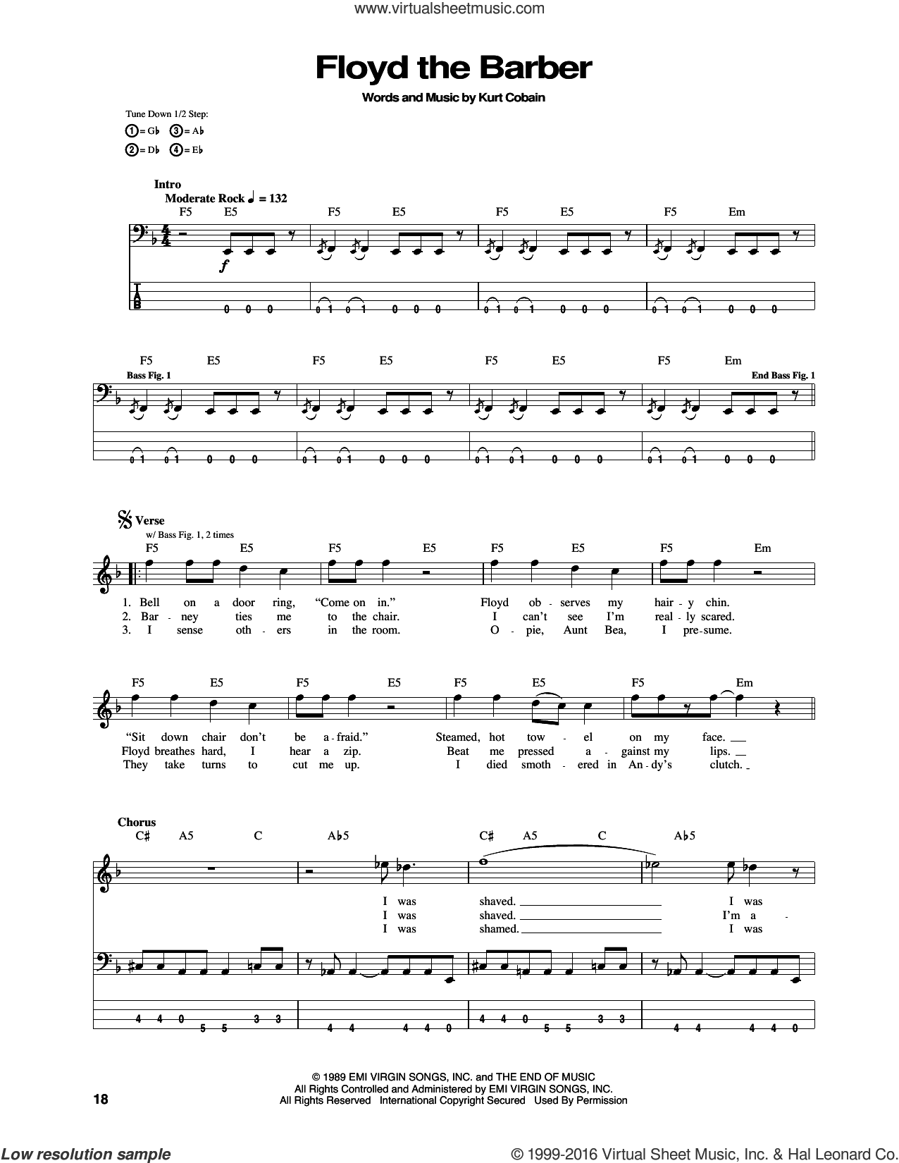 Floyd The Barber sheet music for bass (tablature) (bass guitar) by Kurt Cobain and Nirvana. Score Image Preview.
