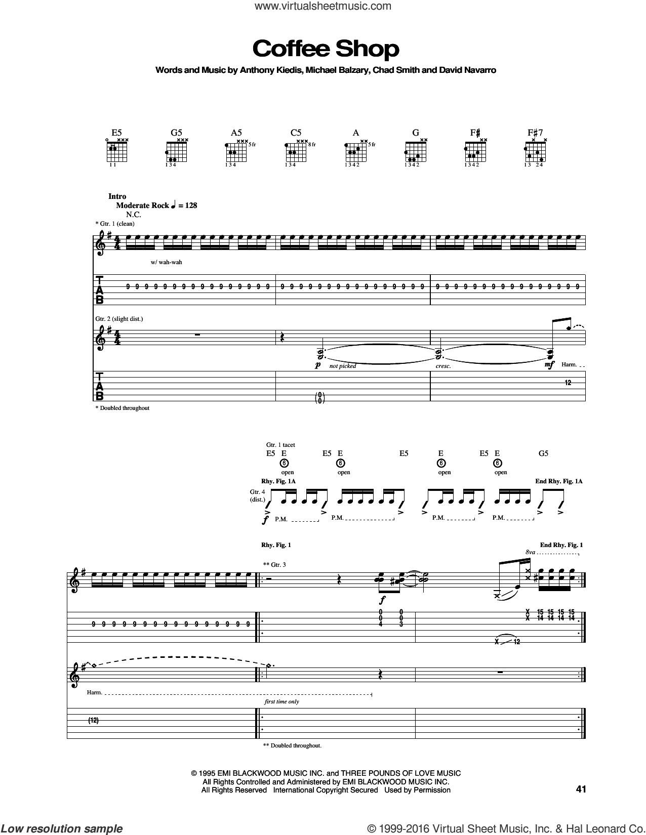 Coffee Shop sheet music for guitar (tablature) by Red Hot Chili Peppers. Score Image Preview.
