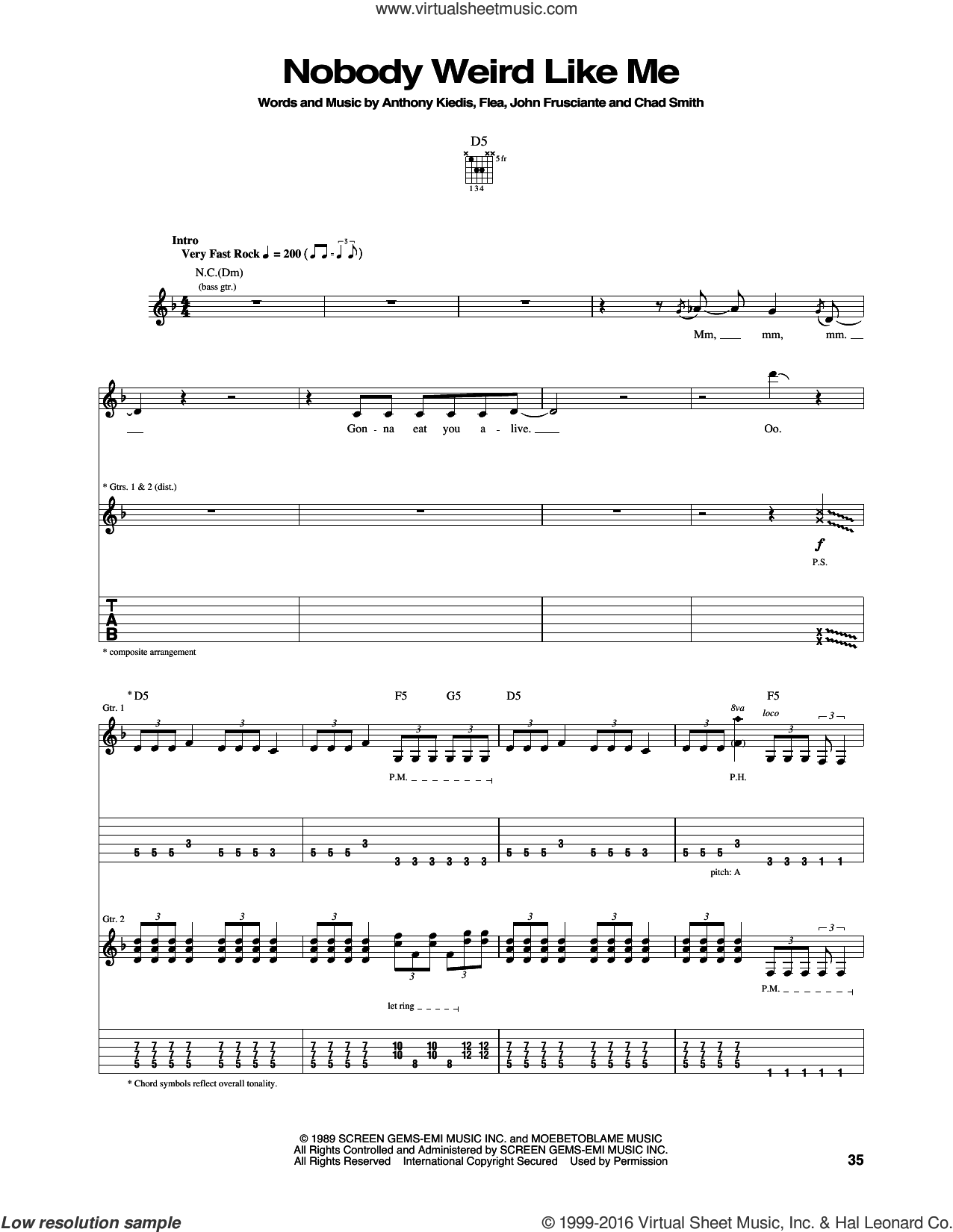 Nobody Weird Like Me sheet music for guitar (tablature) by Red Hot Chili Peppers, intermediate guitar (tablature). Score Image Preview.