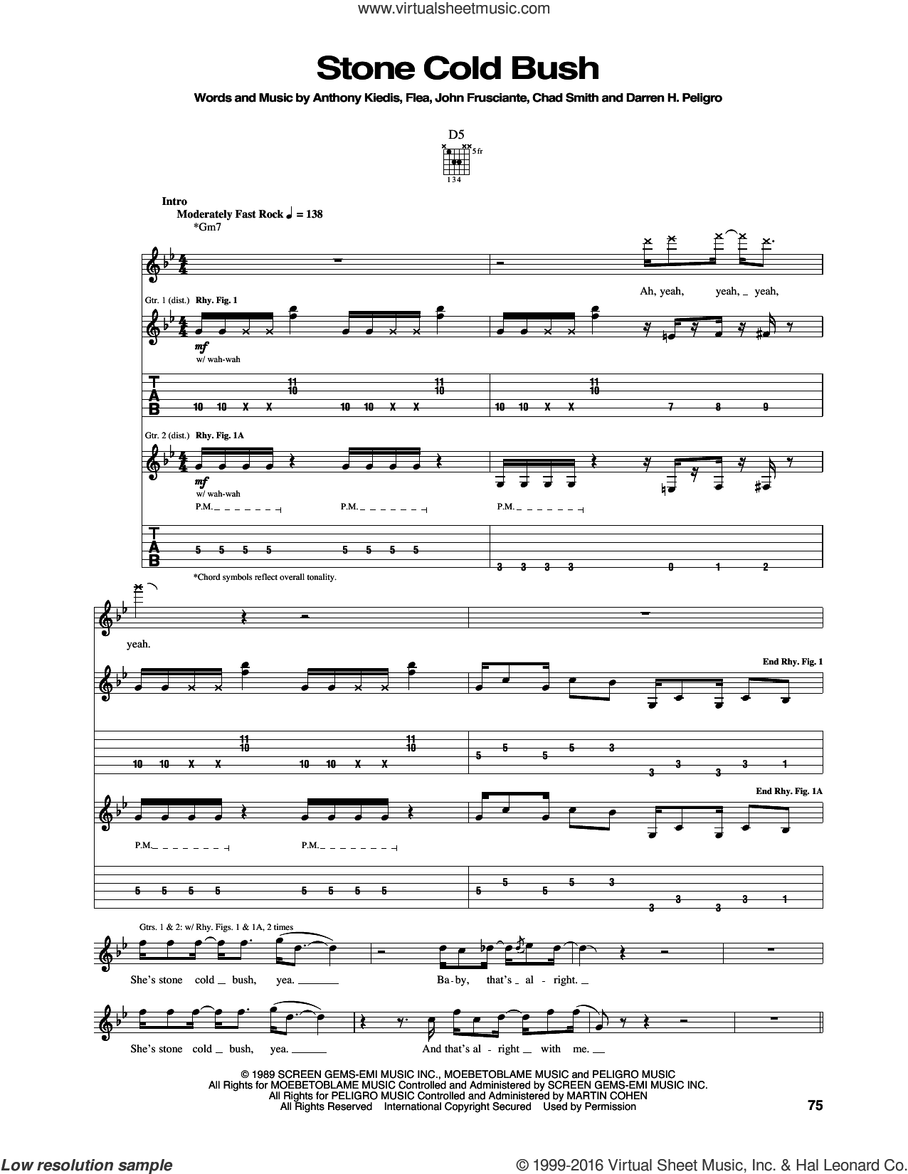 Stone Cold Bush sheet music for guitar (tablature) by Red Hot Chili Peppers, intermediate. Score Image Preview.
