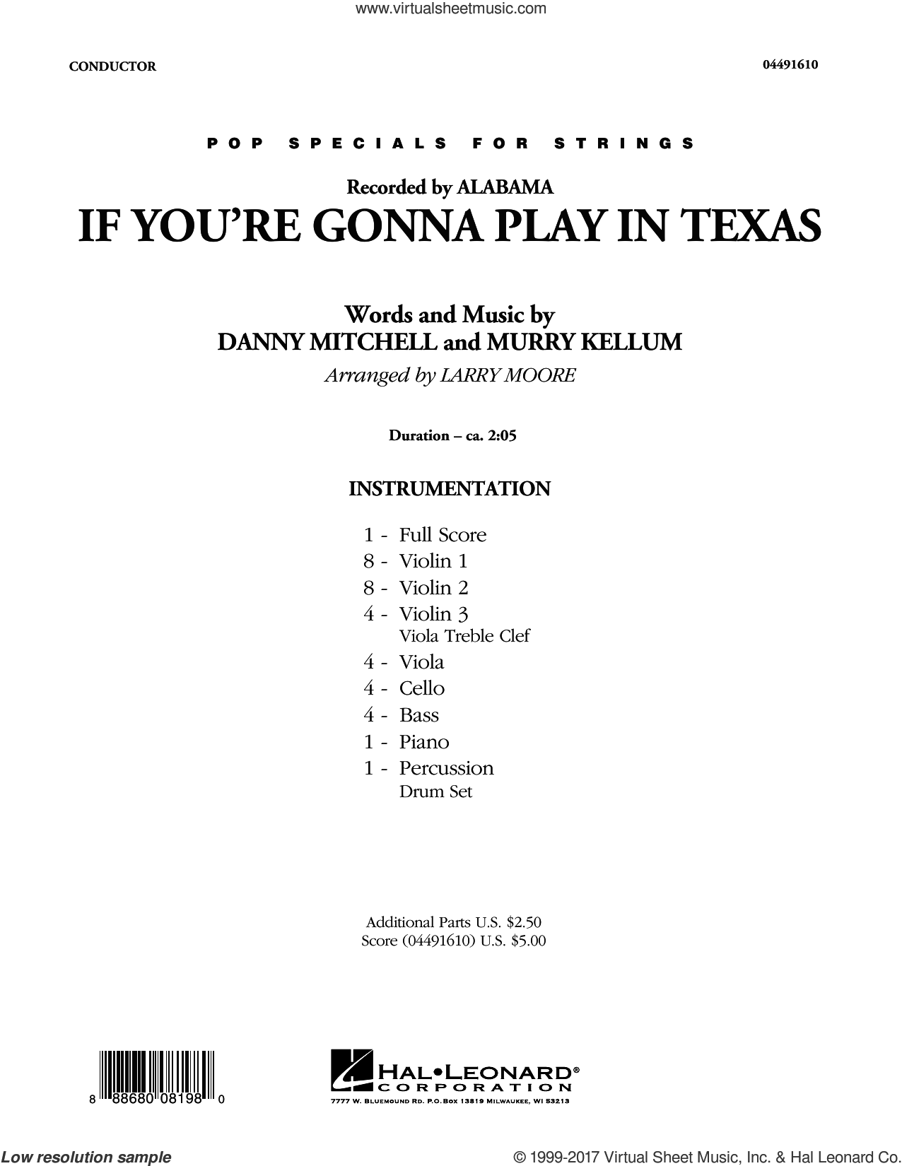 If You're Gonna Play in Texas (You Gotta Have a Fiddle in the Band) (COMPLETE) sheet music for orchestra by Larry Moore, Alabama, Dan Mitchell, Danny Mitchell and Murry Kellum, intermediate. Score Image Preview.