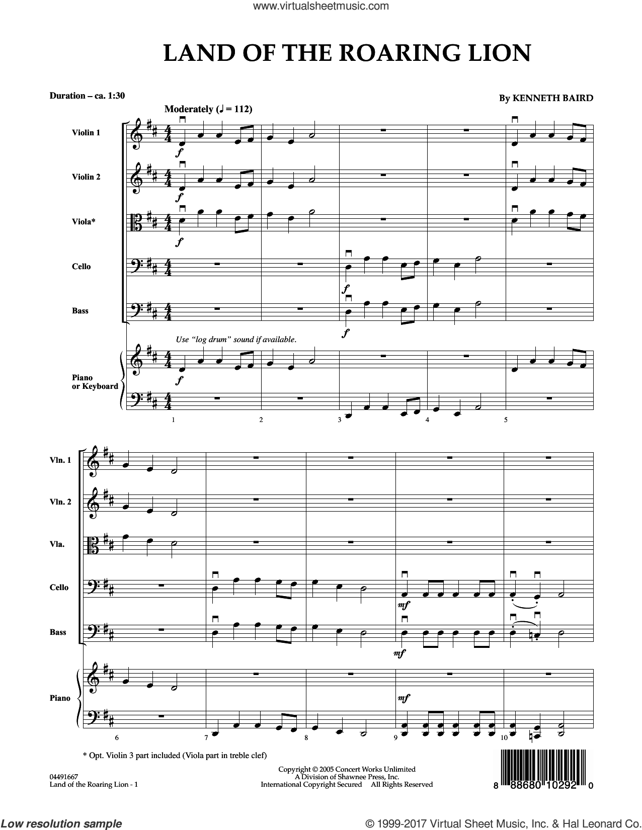 Land of the Roaring Lion (COMPLETE) sheet music for orchestra by Kenneth Baird, intermediate. Score Image Preview.