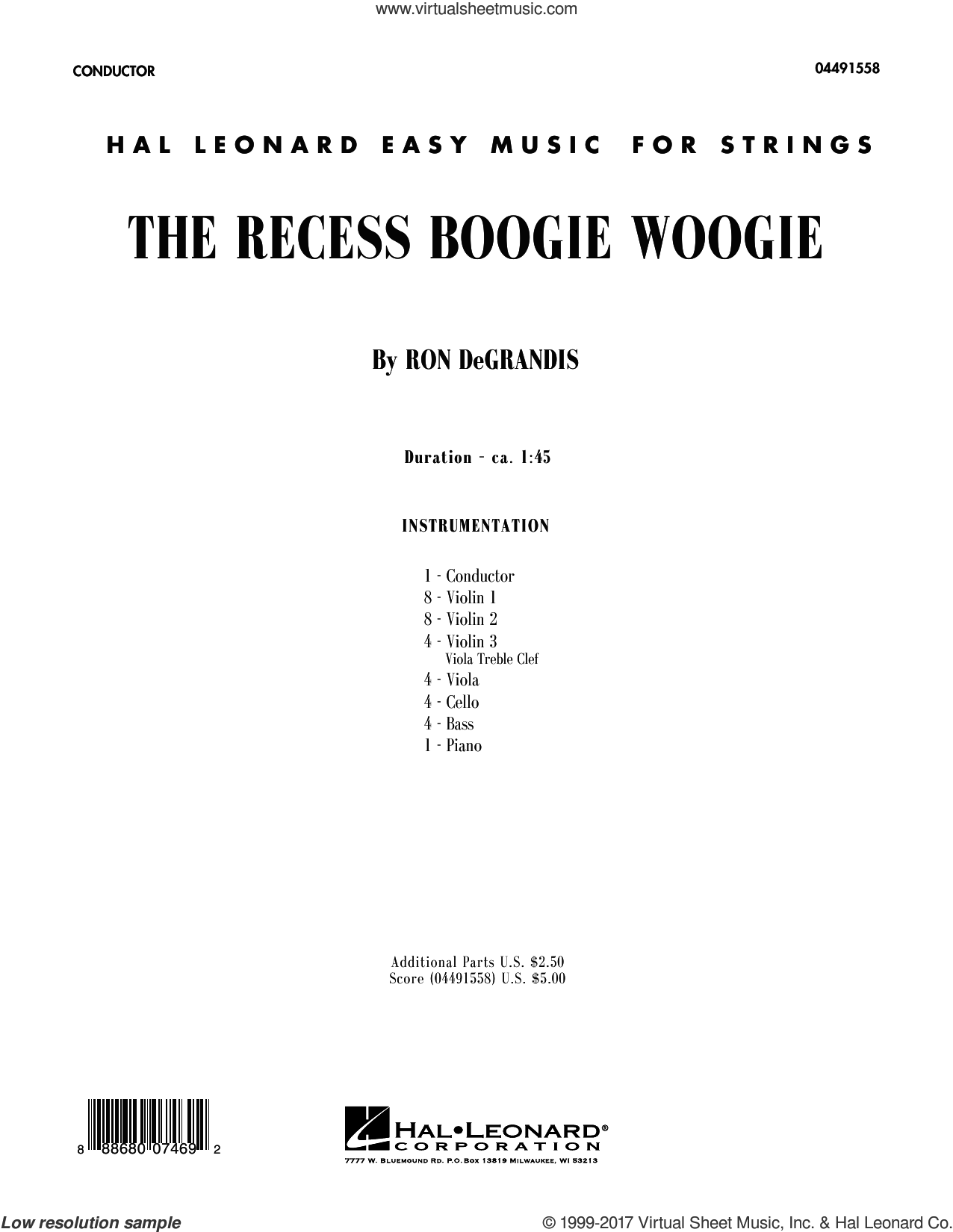 The Recess Boogie Woogie (COMPLETE) sheet music for orchestra by Ron DeGrandis, intermediate