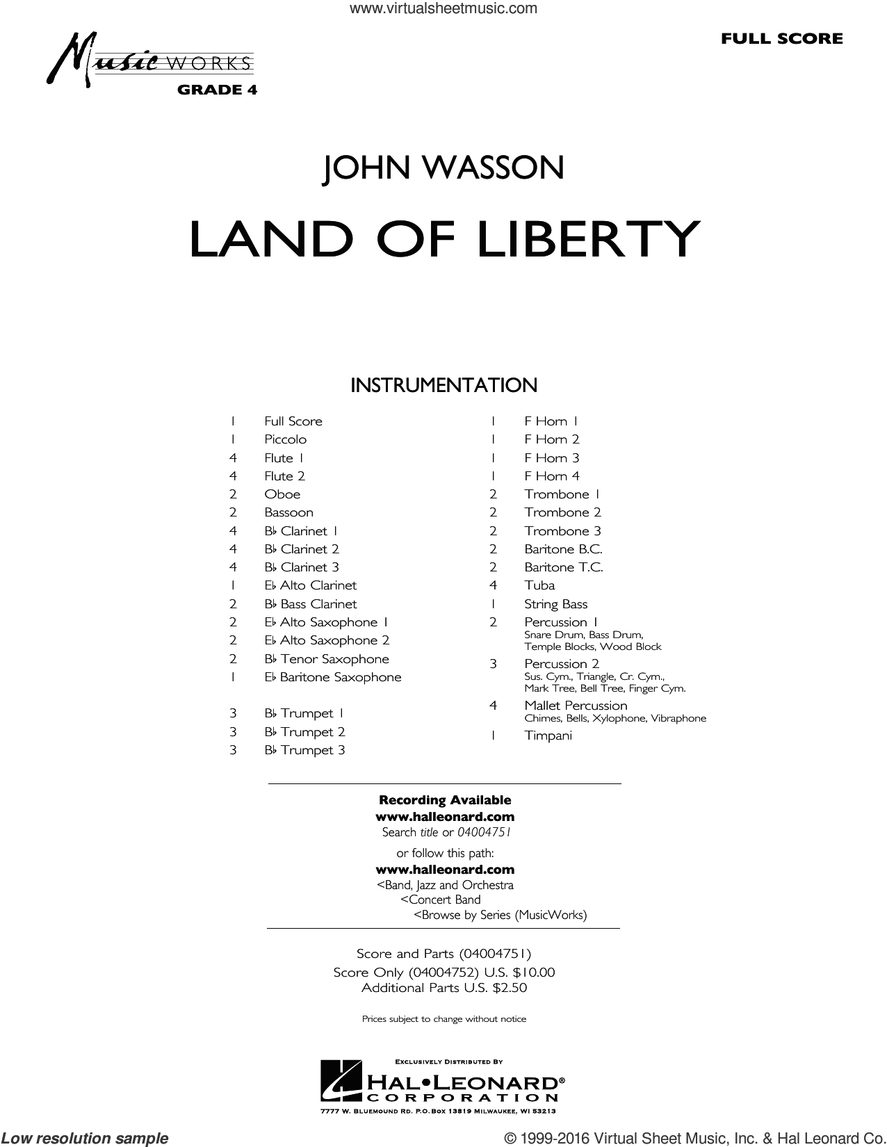 Land of Liberty sheet music for concert band (full score) by John Wasson. Score Image Preview.