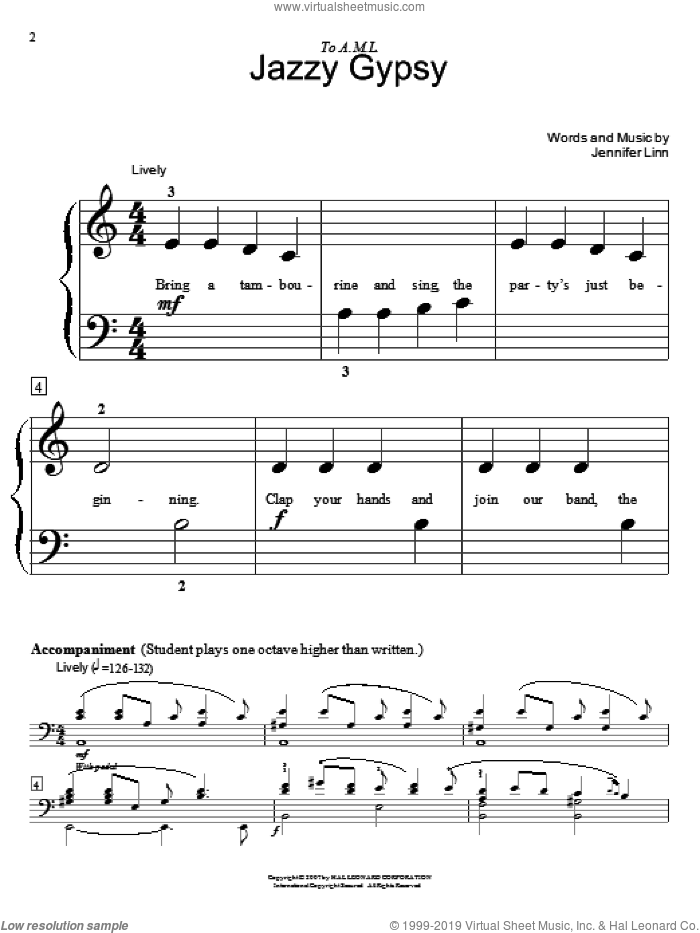Jazzy Gypsy sheet music for piano four hands by Jennifer Linn and Miscellaneous, intermediate