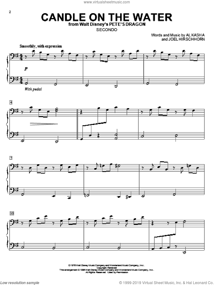 Candle On The Water sheet music for piano four hands (duets) by Al Kasha and Joel Hirschhorn, wedding score, intermediate piano four hands. Score Image Preview.