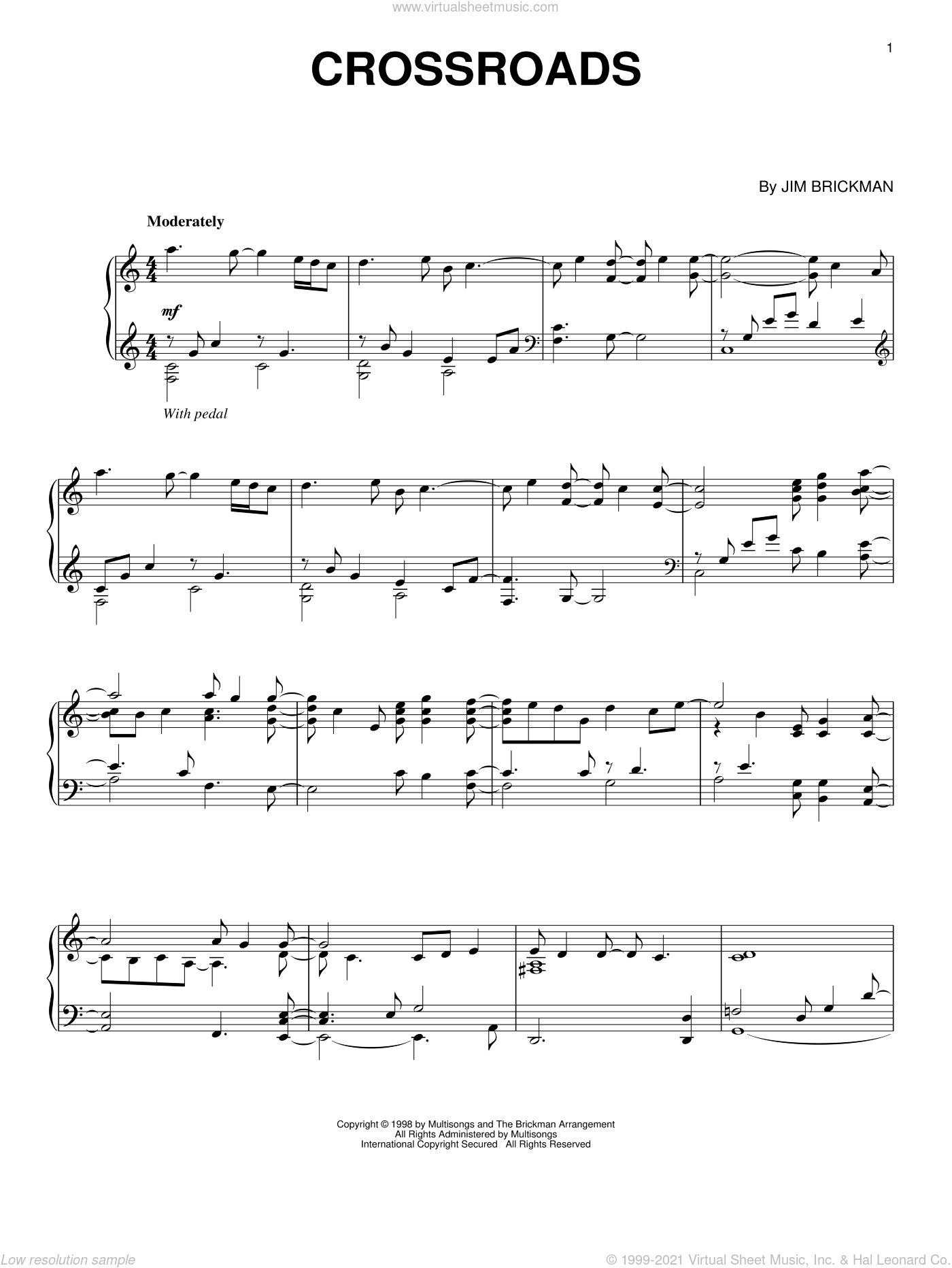 Crossroads sheet music for piano solo by Jim Brickman. Score Image Preview.