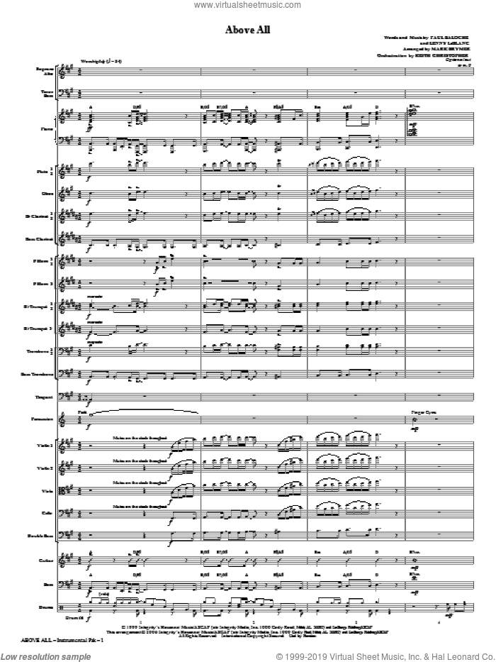 Above All (COMPLETE) sheet music for orchestra/band (Orchestra) by Paul Baloche, Lenny LeBlanc, Mark Brymer and Michael W. Smith, intermediate. Score Image Preview.