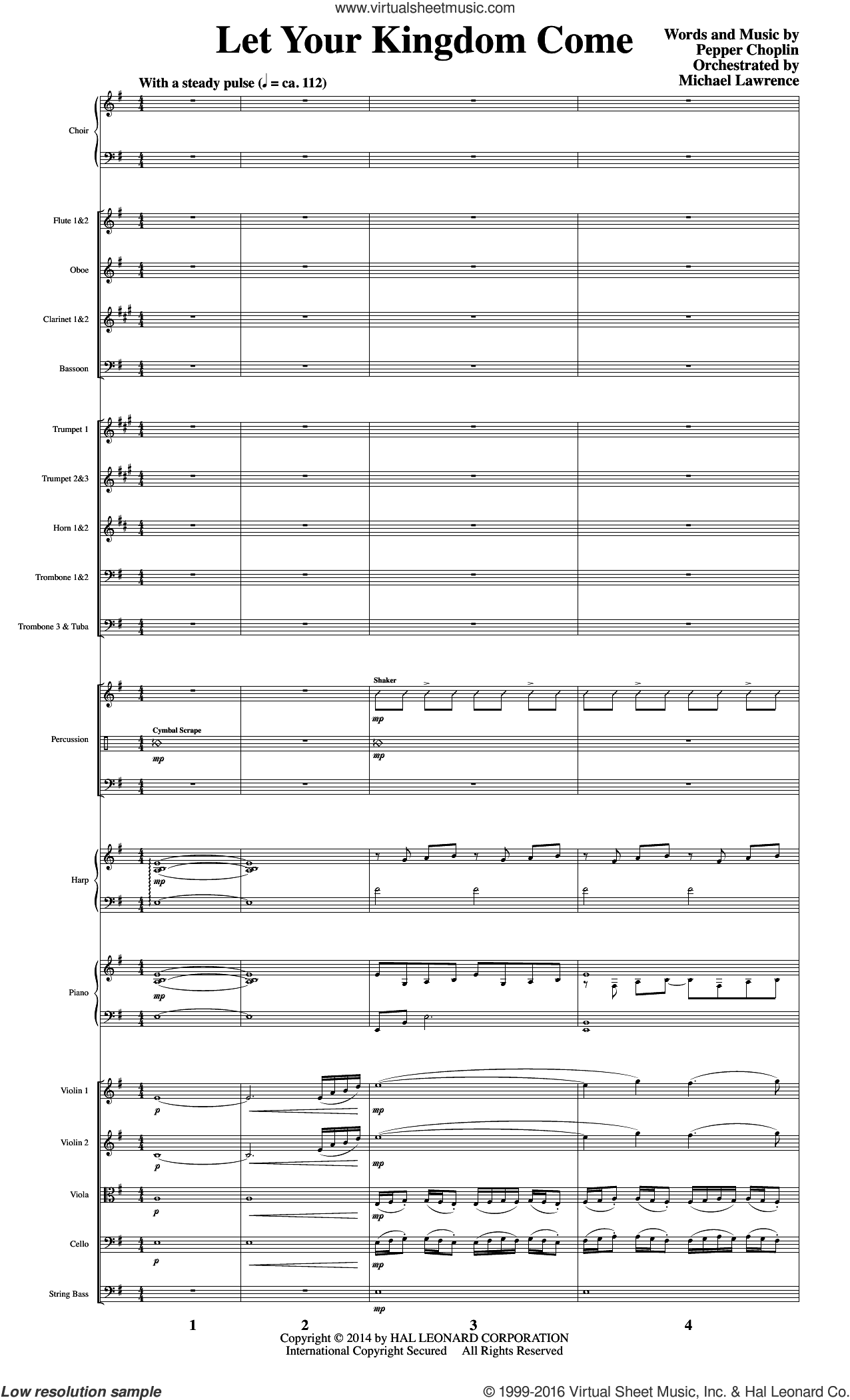 Let Your Kingdom Come sheet music for orchestra/band (score) by Pepper Choplin. Score Image Preview.